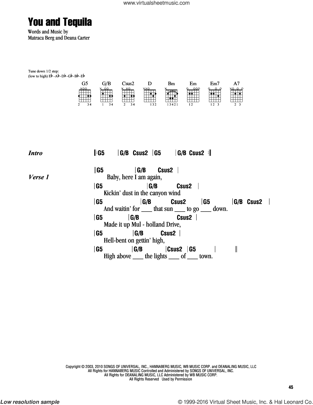 You And Tequila sheet music for guitar (chords) by Kenny Chesney featuring Grace Potter, Kenny Chesney, Deana Carter and Matraca Berg, intermediate. Score Image Preview.