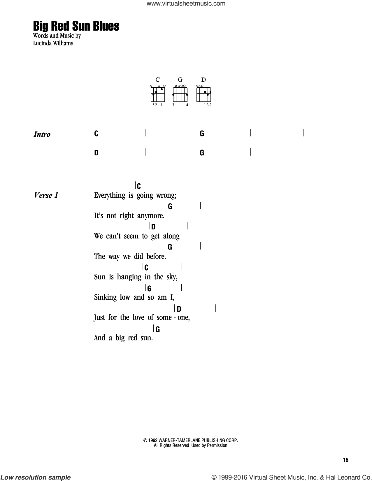 Big Red Sun Blues sheet music for guitar (chords) by Lucinda Williams. Score Image Preview.