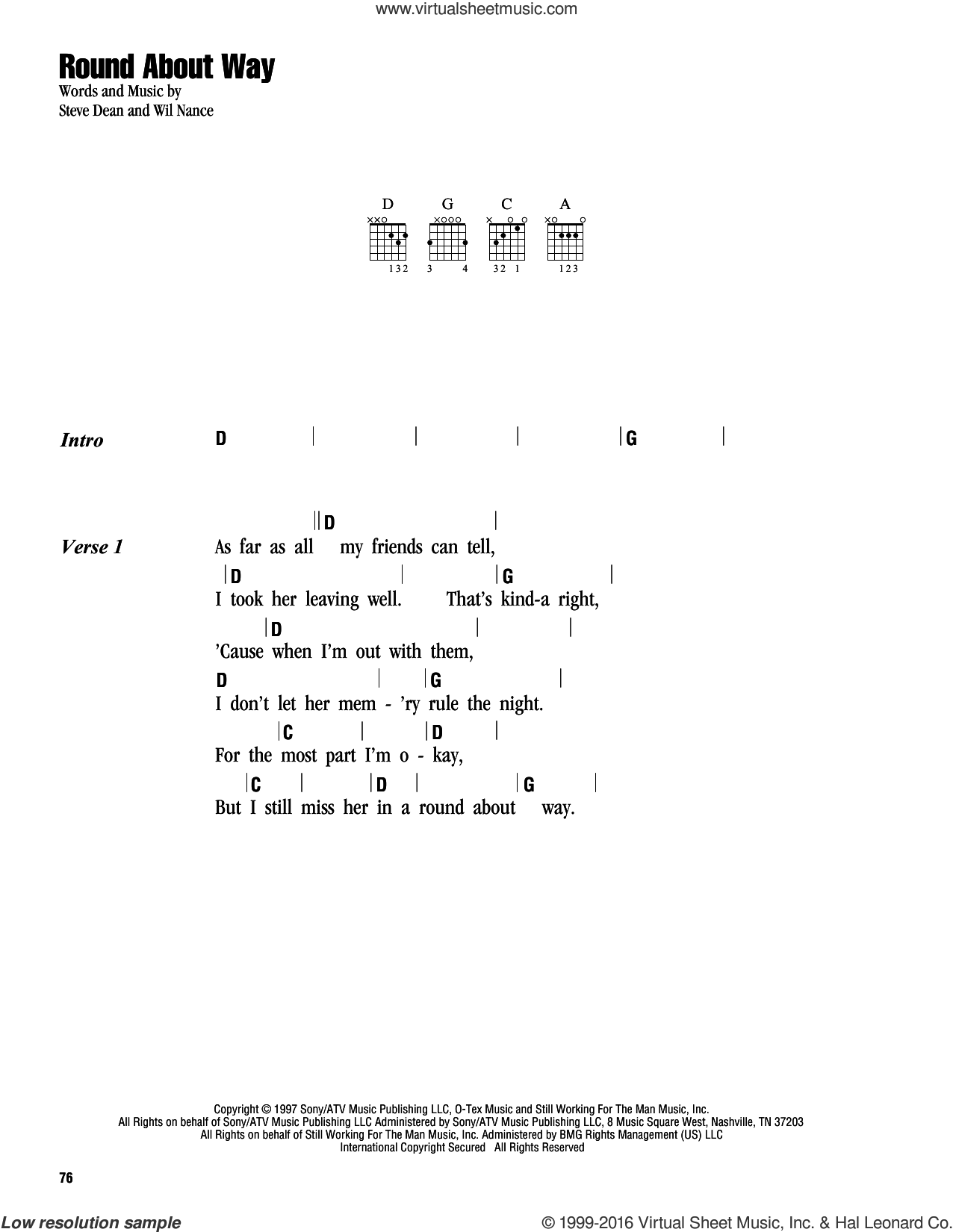 Round About Way sheet music for guitar (chords) by George Strait, Steve Dean and Wil Nance, intermediate. Score Image Preview.