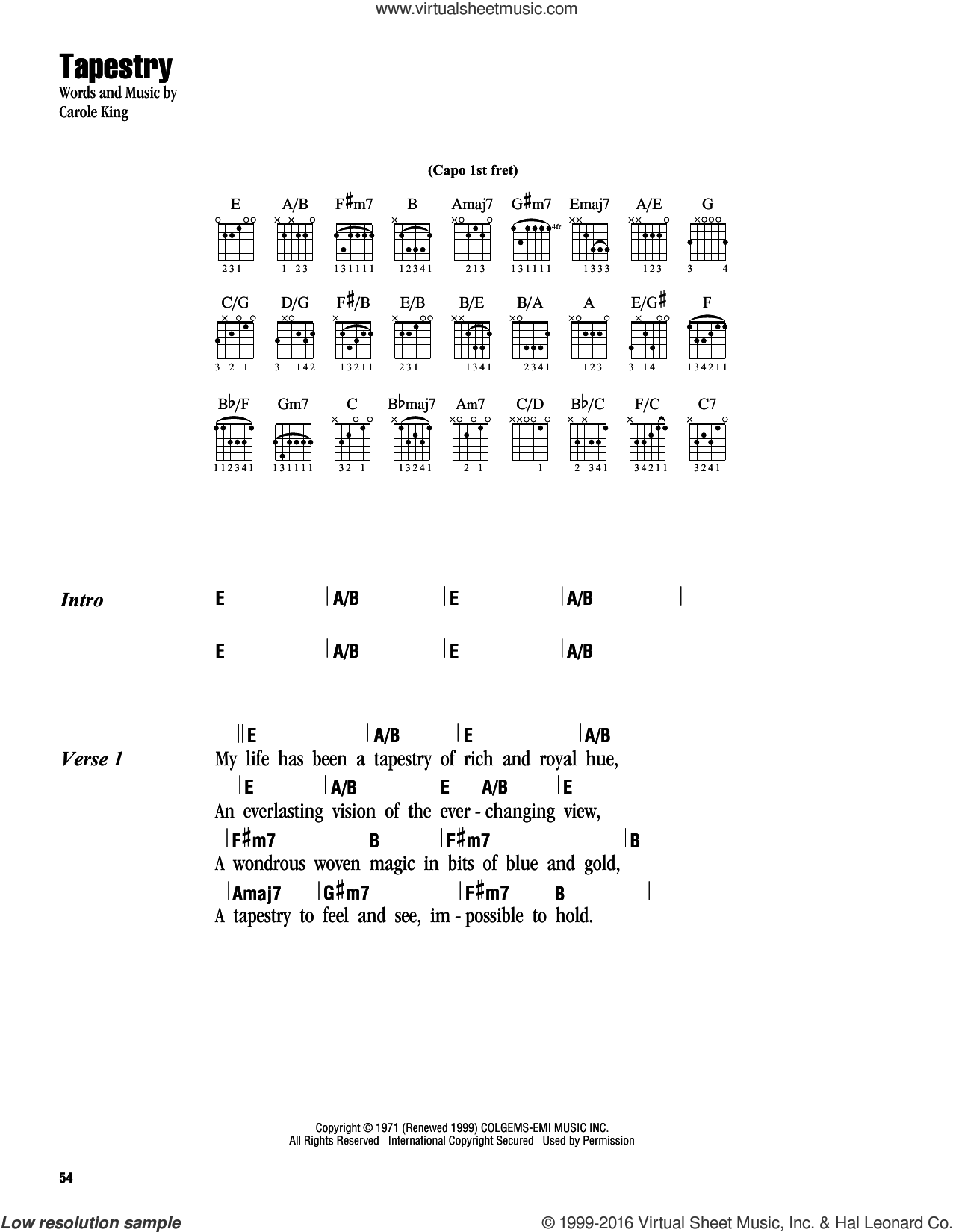 Tapestry sheet music for guitar (chords) by Carole King, intermediate. Score Image Preview.