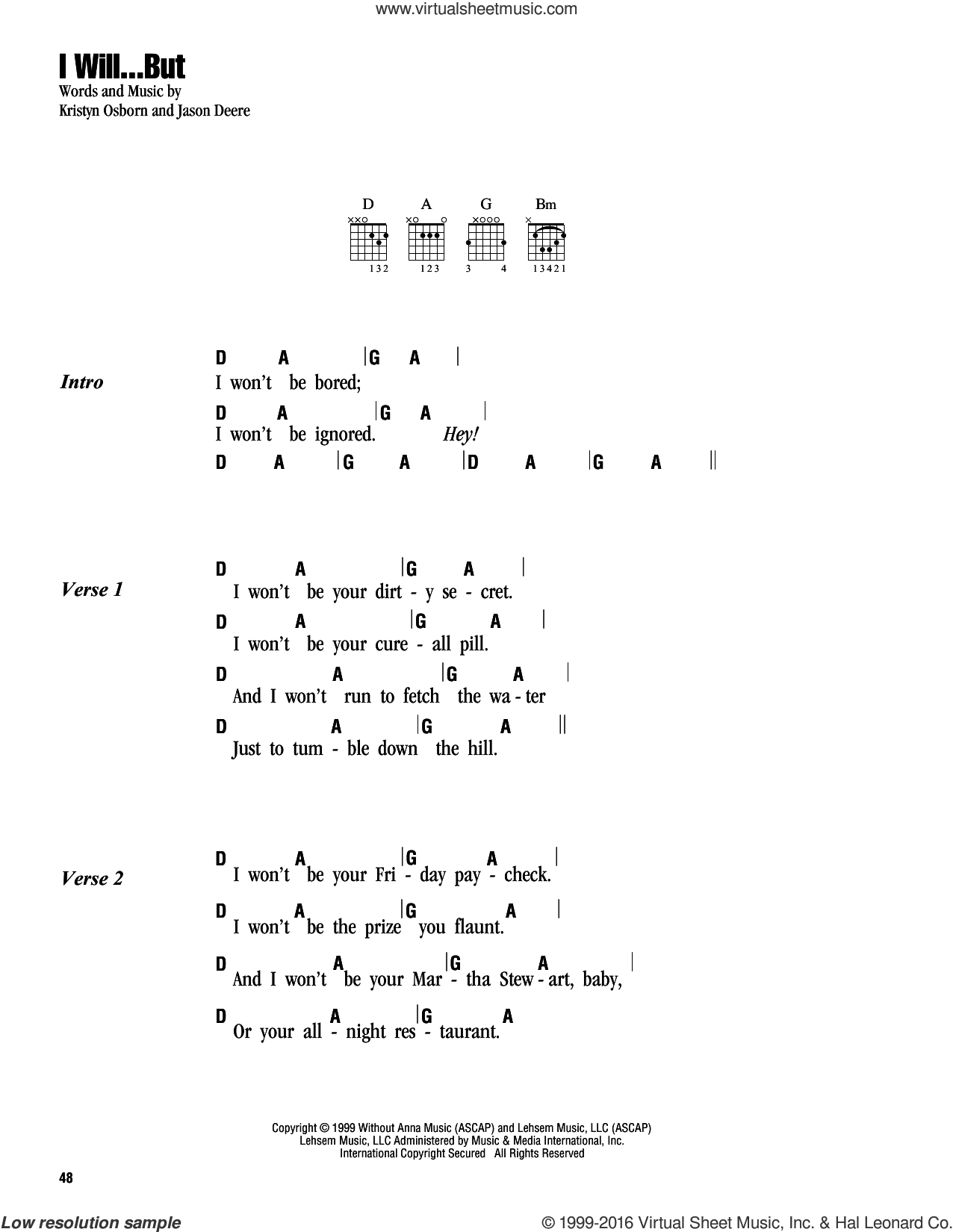 I Will...But sheet music for guitar (chords) by SHeDAISY and Jason Deere. Score Image Preview.