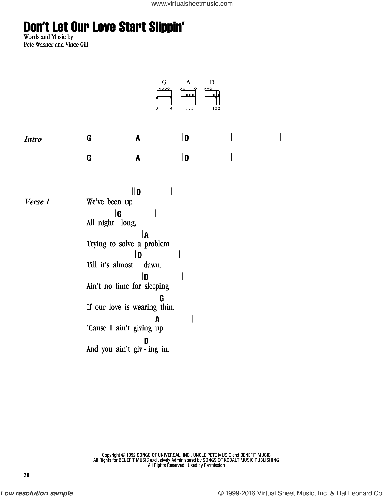 Don't Let Our Love Start Slippin' sheet music for guitar (chords) by Vince Gill. Score Image Preview.