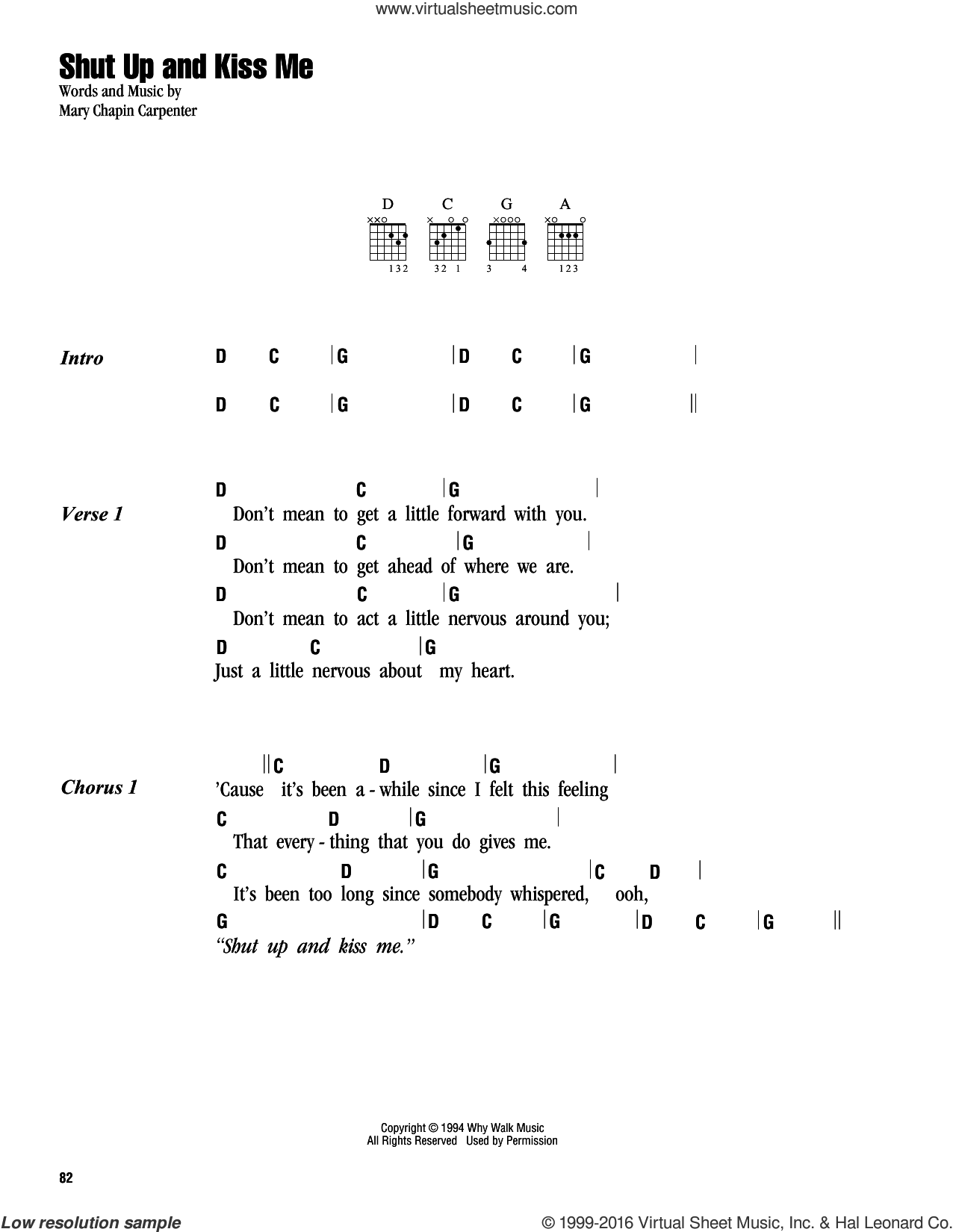 Shut Up And Kiss Me sheet music for guitar (chords) by Mary Chapin Carpenter. Score Image Preview.