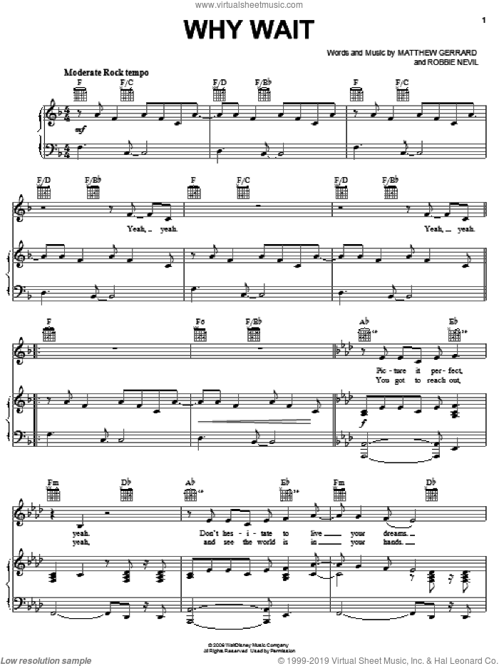 Why Wait sheet music for voice, piano or guitar by Robbie Nevil