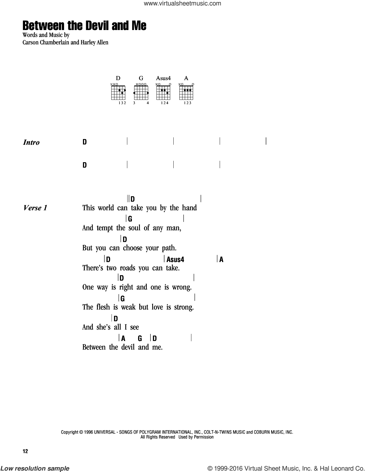 Between The Devil And Me sheet music for guitar (chords) by Harley Allen, Alan Jackson and Carson Chamberlain. Score Image Preview.