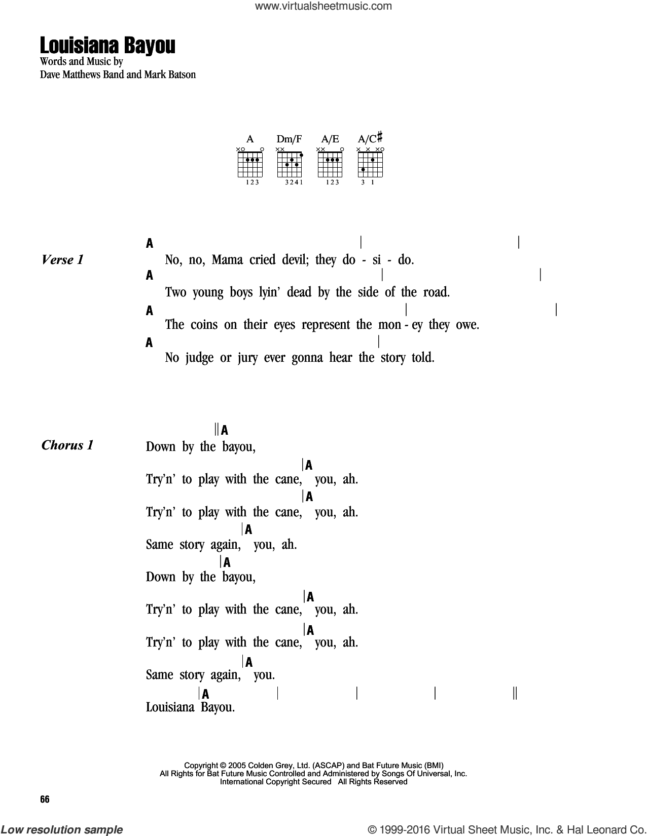 Louisiana Bayou sheet music for guitar (chords) by Mark Batson and Dave Matthews Band. Score Image Preview.