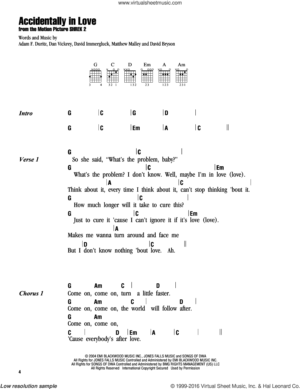 Accidentally In Love sheet music for guitar (chords) by Counting Crows, Adam Duritz, Dan Vickrey, David Bryson, David Immergluck and Matthew Malley, intermediate