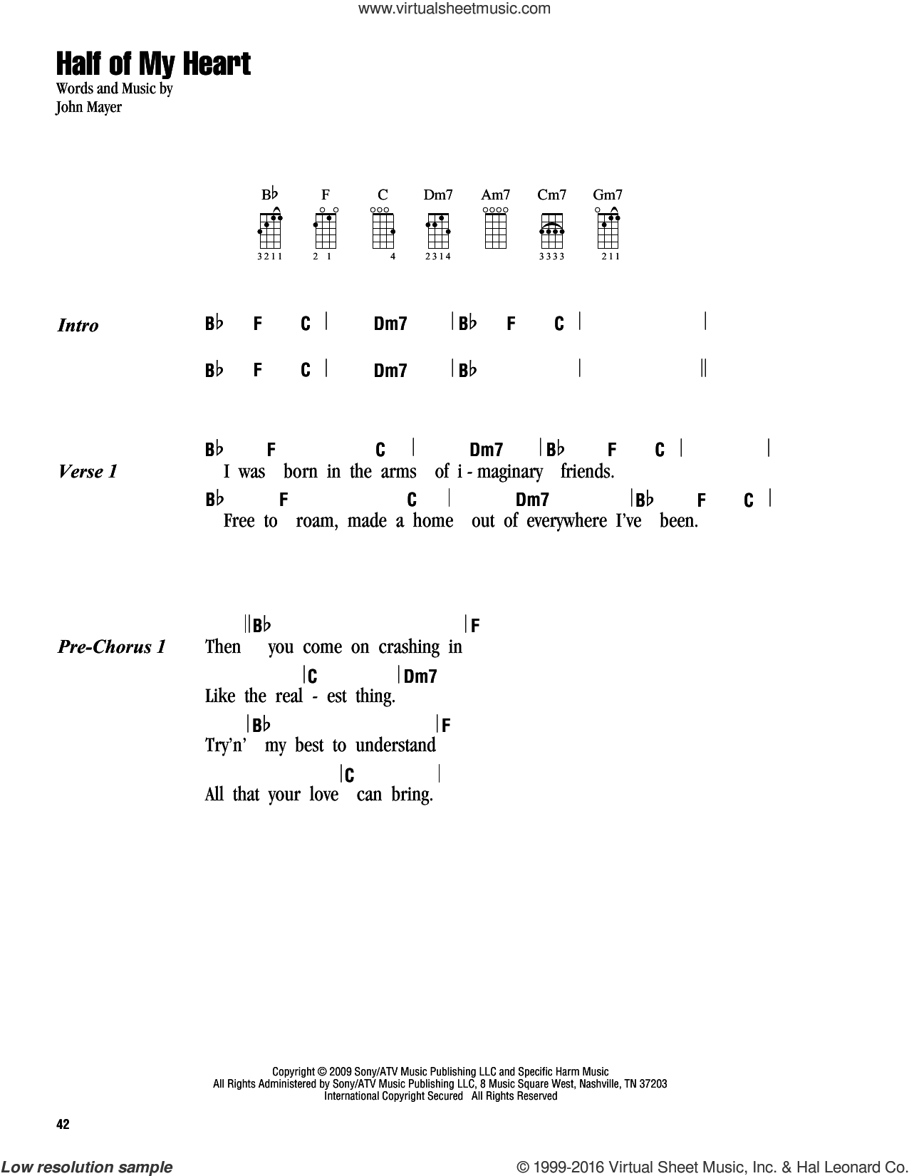 Half Of My Heart sheet music for ukulele (chords) by John Mayer featuring Taylor Swift and John Mayer. Score Image Preview.