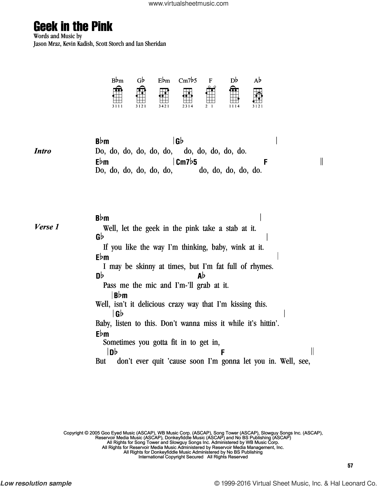 Geek In The Pink sheet music for ukulele (chords) by Scott Storch, Jason Mraz and Kevin Kadish. Score Image Preview.