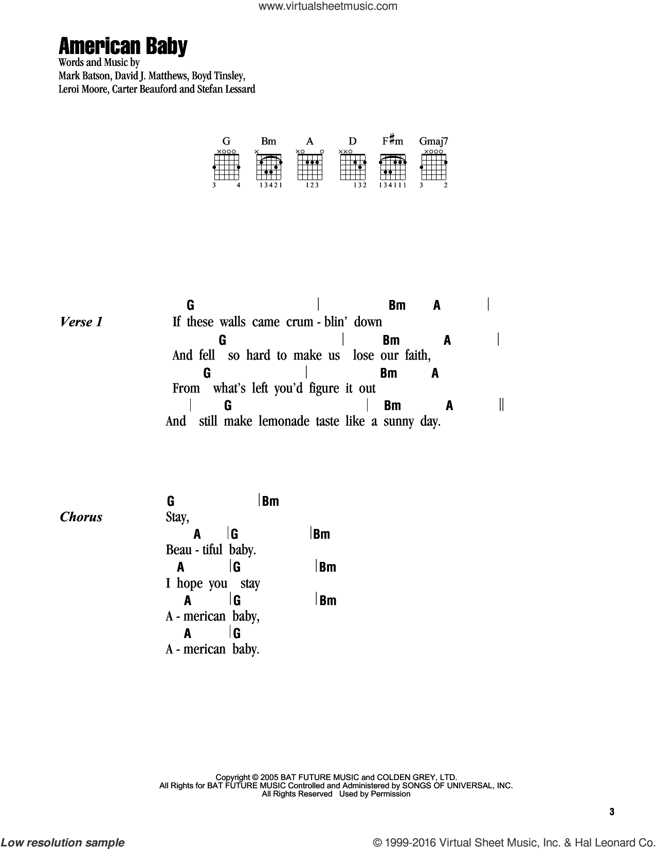 American Baby sheet music for guitar (chords) by Mark Batson and Dave Matthews Band. Score Image Preview.