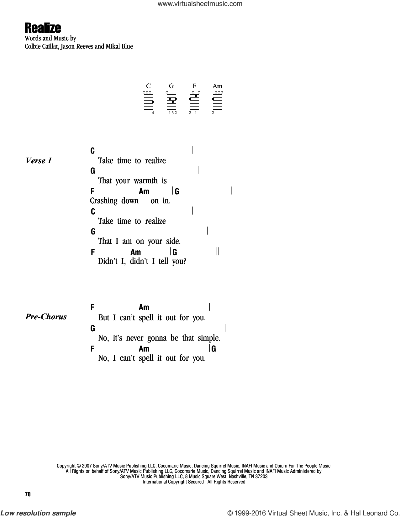 Realize sheet music for ukulele (chords) by Colbie Caillat, Jason Reeves and Mikal Blue, intermediate skill level