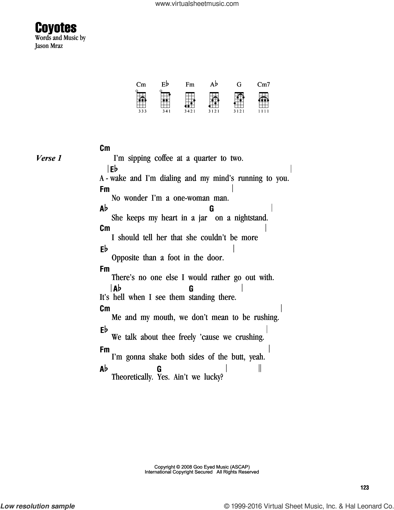 Coyotes sheet music for ukulele (chords) by Jason Mraz. Score Image Preview.