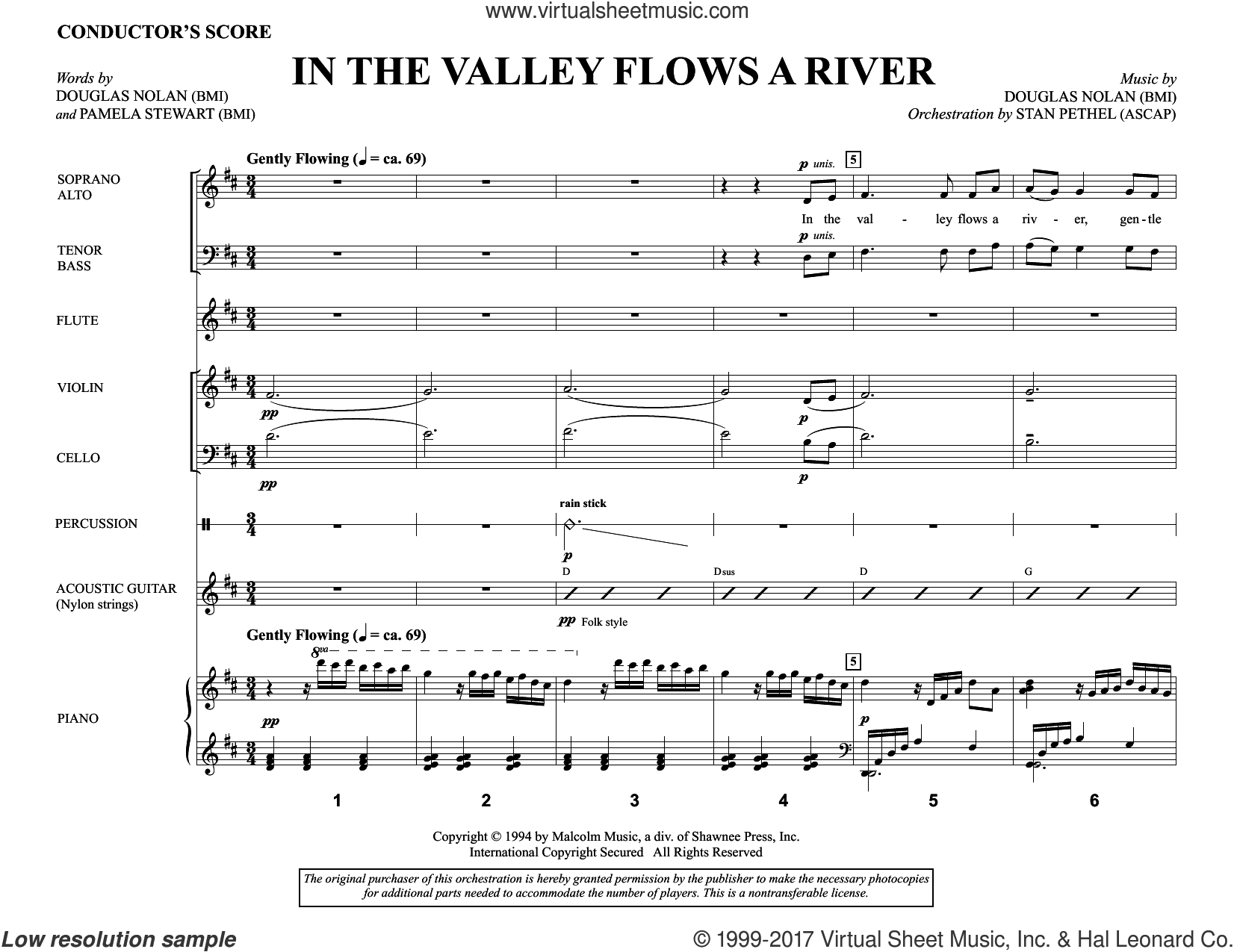 In the Valley Flows a River (COMPLETE) sheet music for orchestra/band by Douglas Nolan and Pamela Martin, intermediate. Score Image Preview.