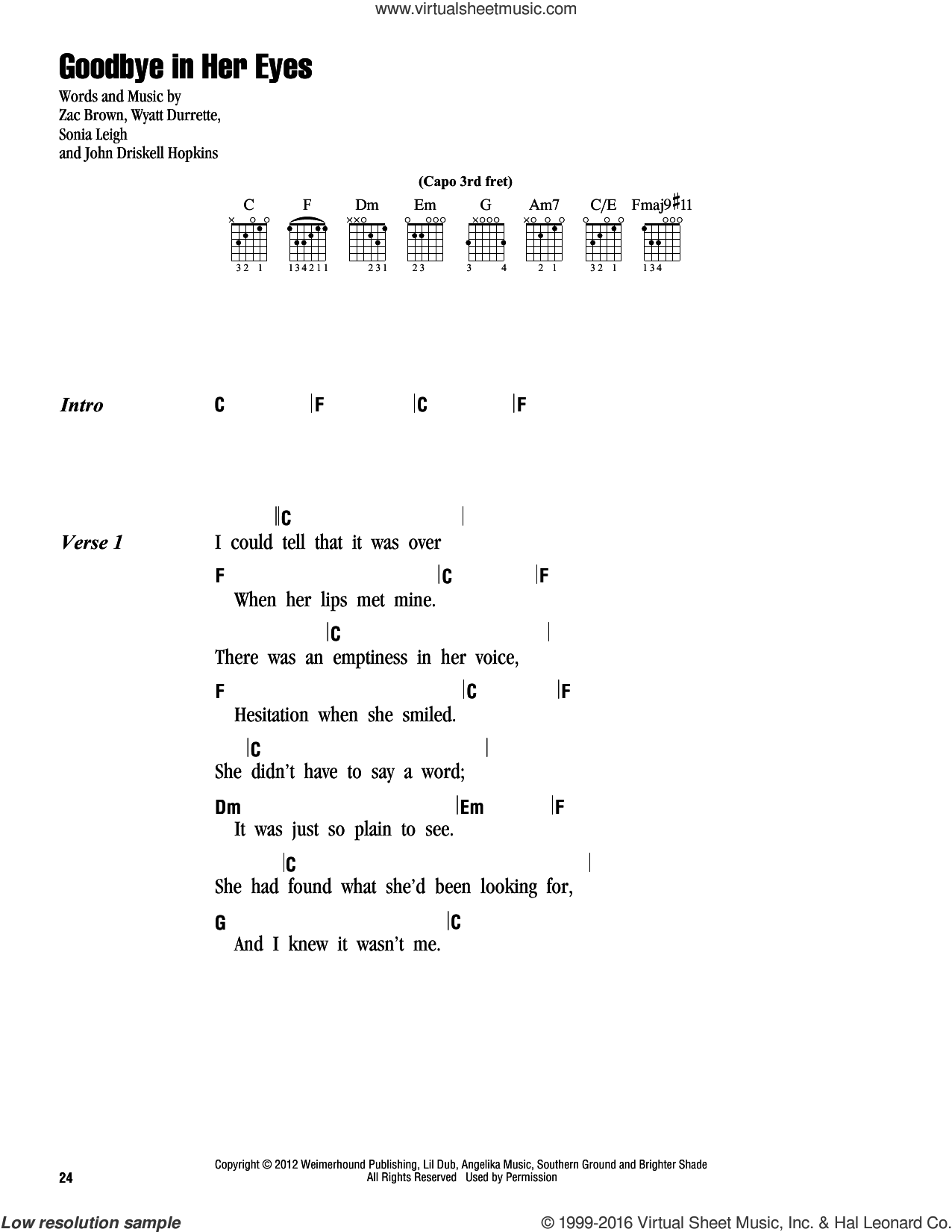 Band Goodbye In Her Eyes Sheet Music For Guitar Chords Pdf