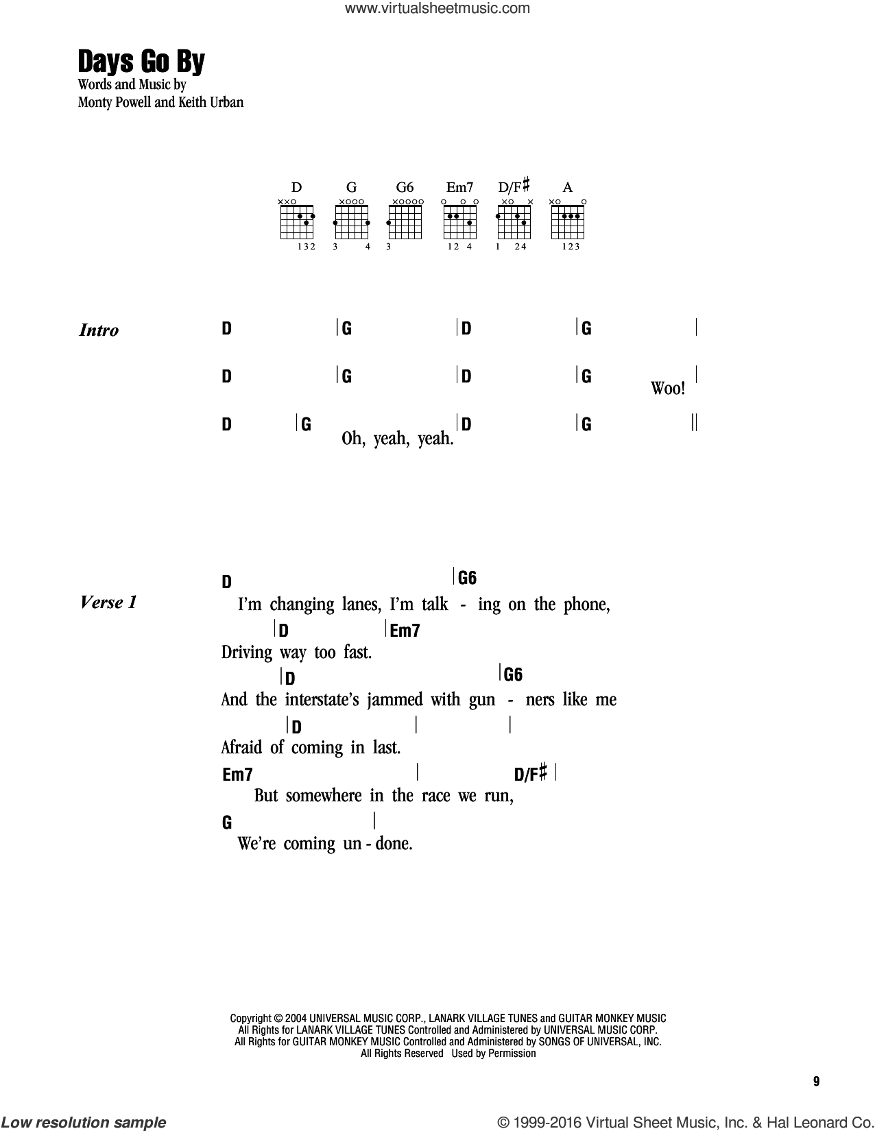 Days Go By sheet music for guitar (chords) by Keith Urban and Monty Powell, intermediate. Score Image Preview.