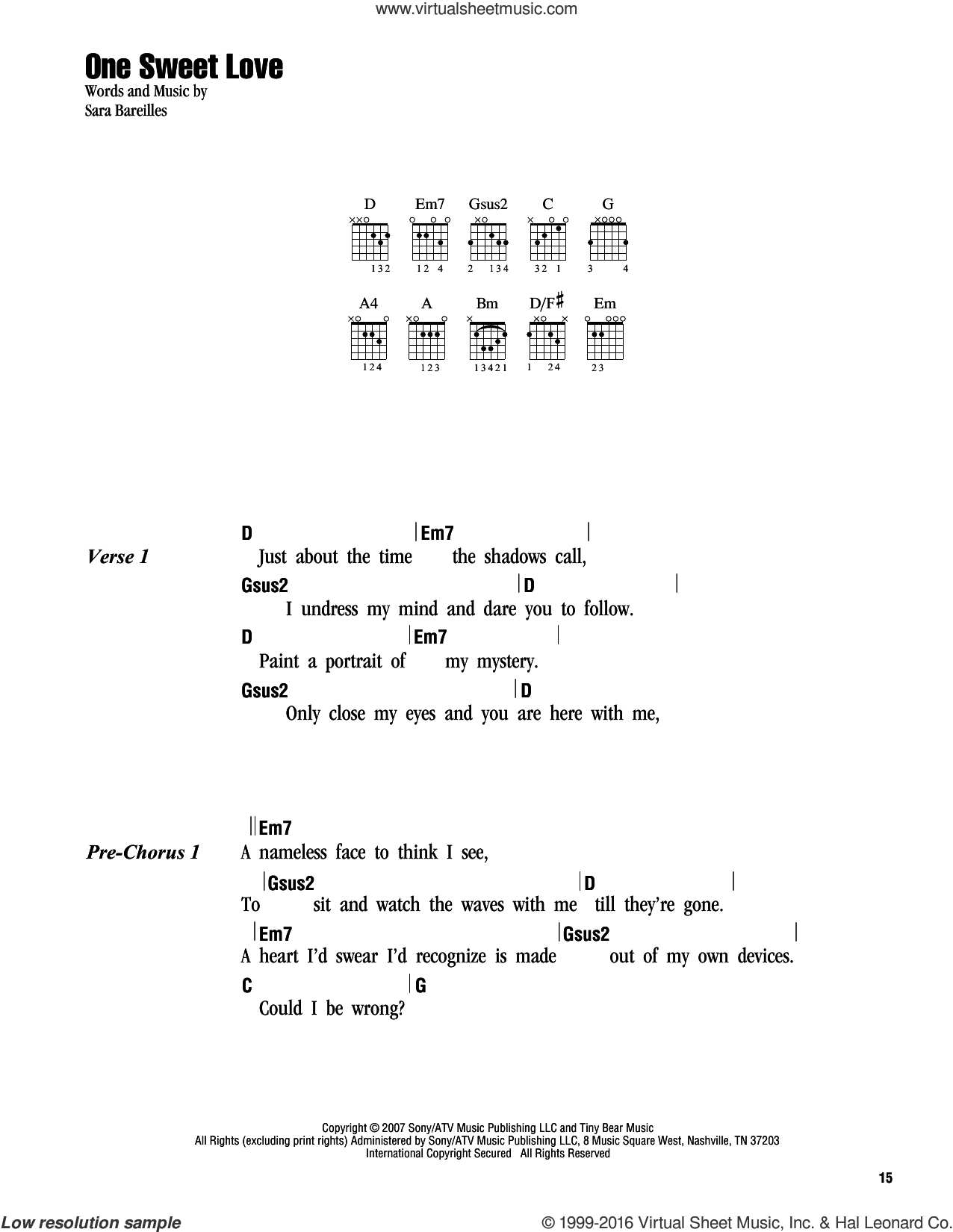 One Sweet Love sheet music for guitar (chords) by Sara Bareilles. Score Image Preview.
