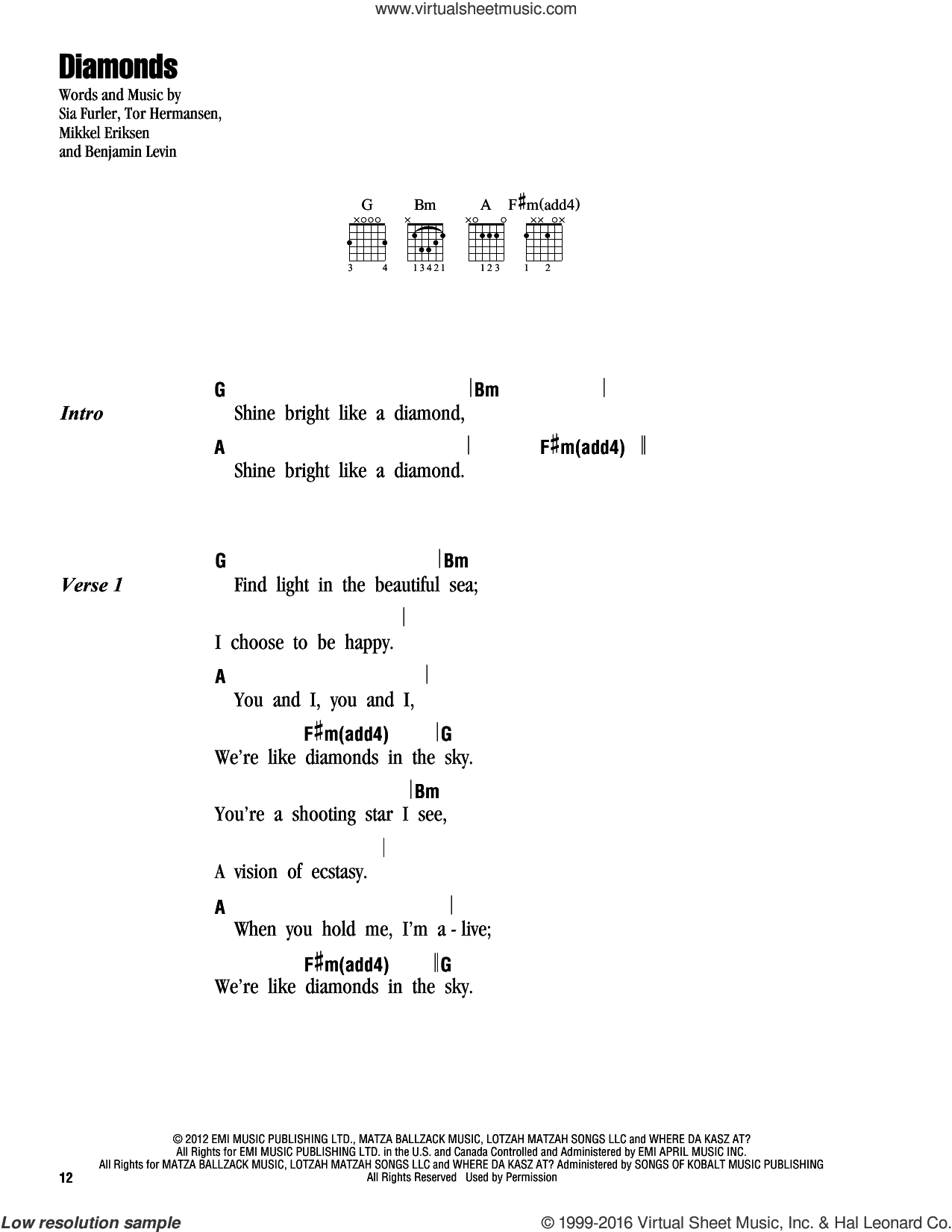 Rihanna Diamonds Sheet Music For Guitar Chords Pdf