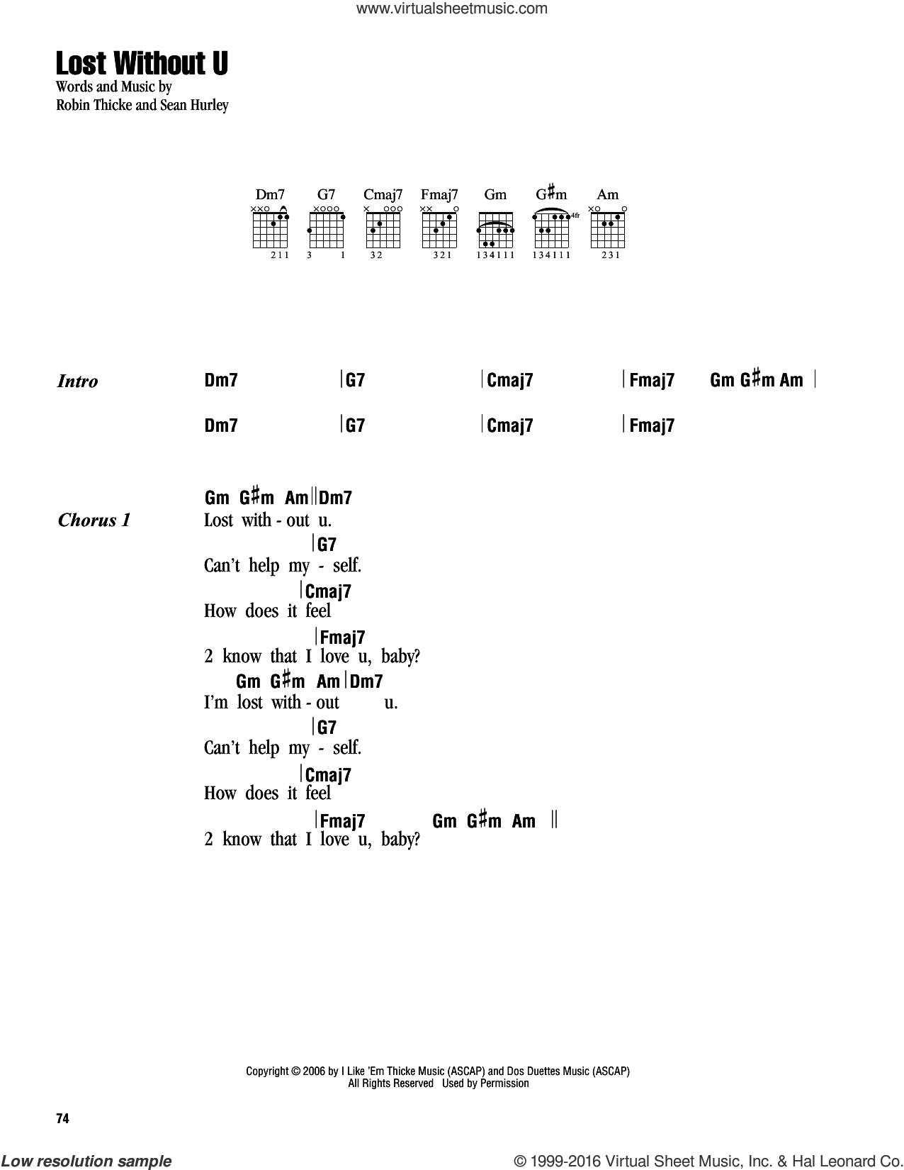 Lost Without U sheet music for guitar (chords) by Robin Thicke. Score Image Preview.