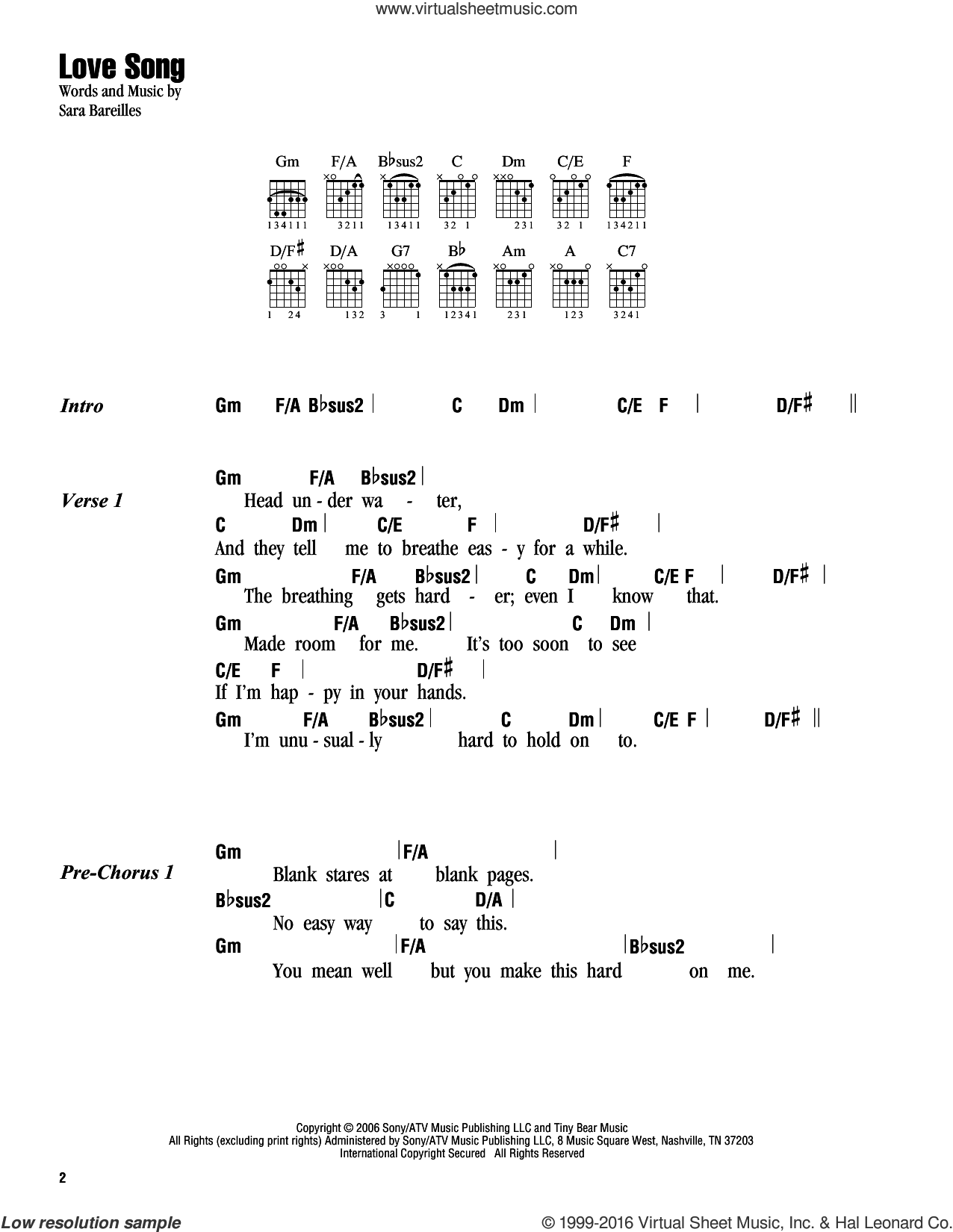 Bareilles Love Song Sheet Music For Guitar Chords Pdf