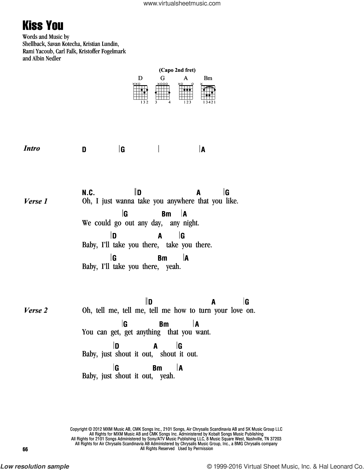 Kiss You sheet music for guitar (chords) by Shellback