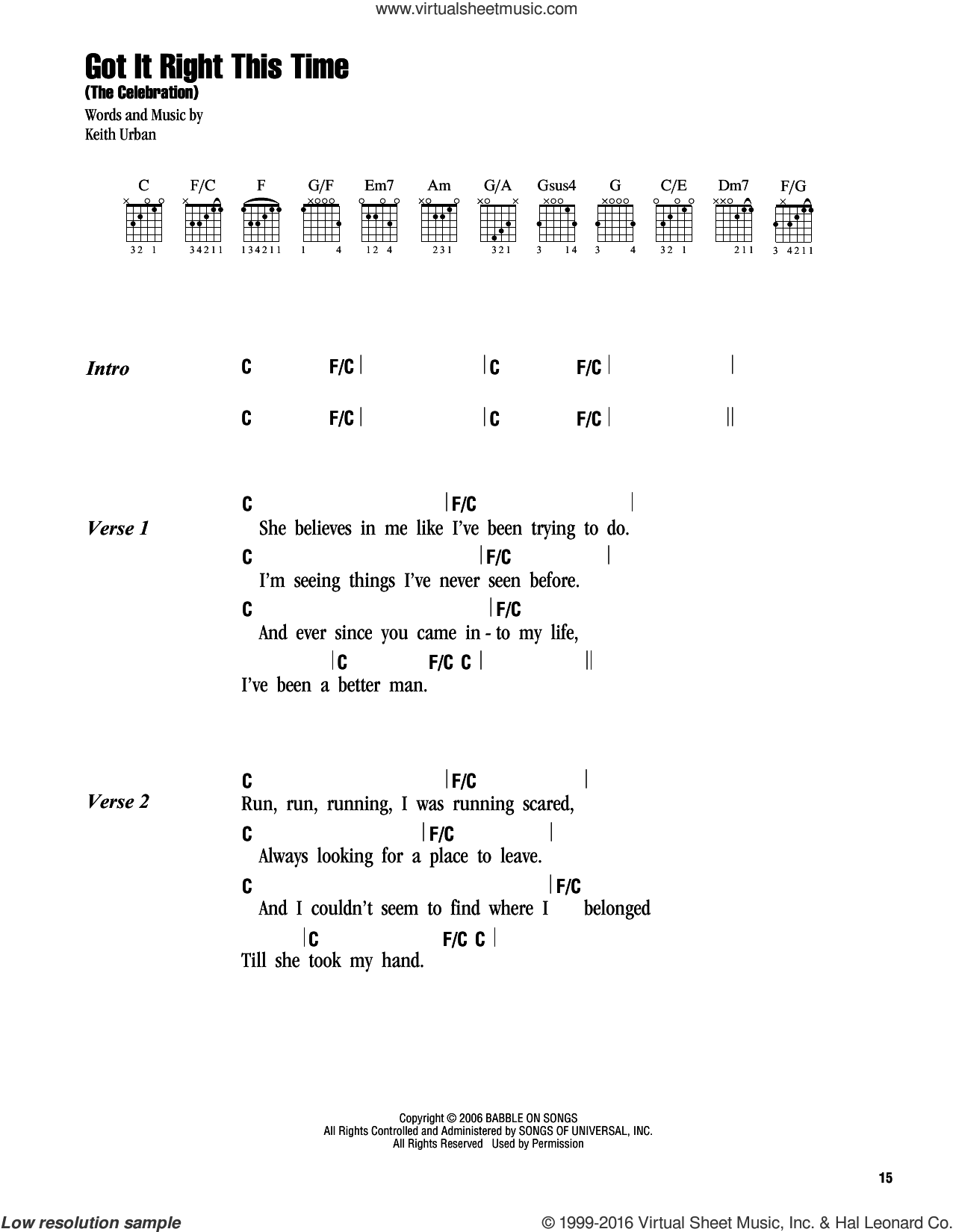 Got It Right This Time (The Celebration) sheet music for guitar (chords) by Keith Urban, intermediate