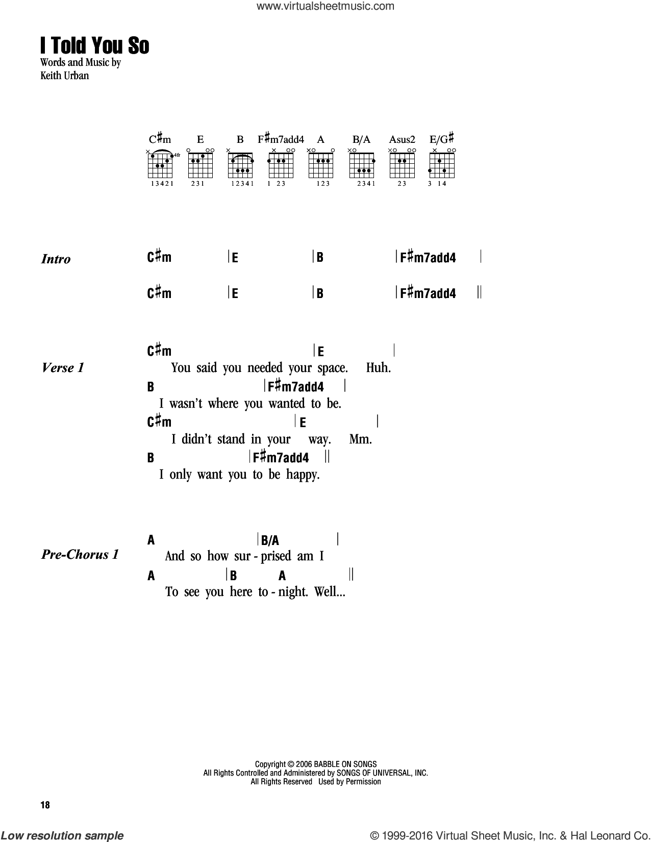 I Told You So sheet music for guitar (chords) by Keith Urban. Score Image Preview.