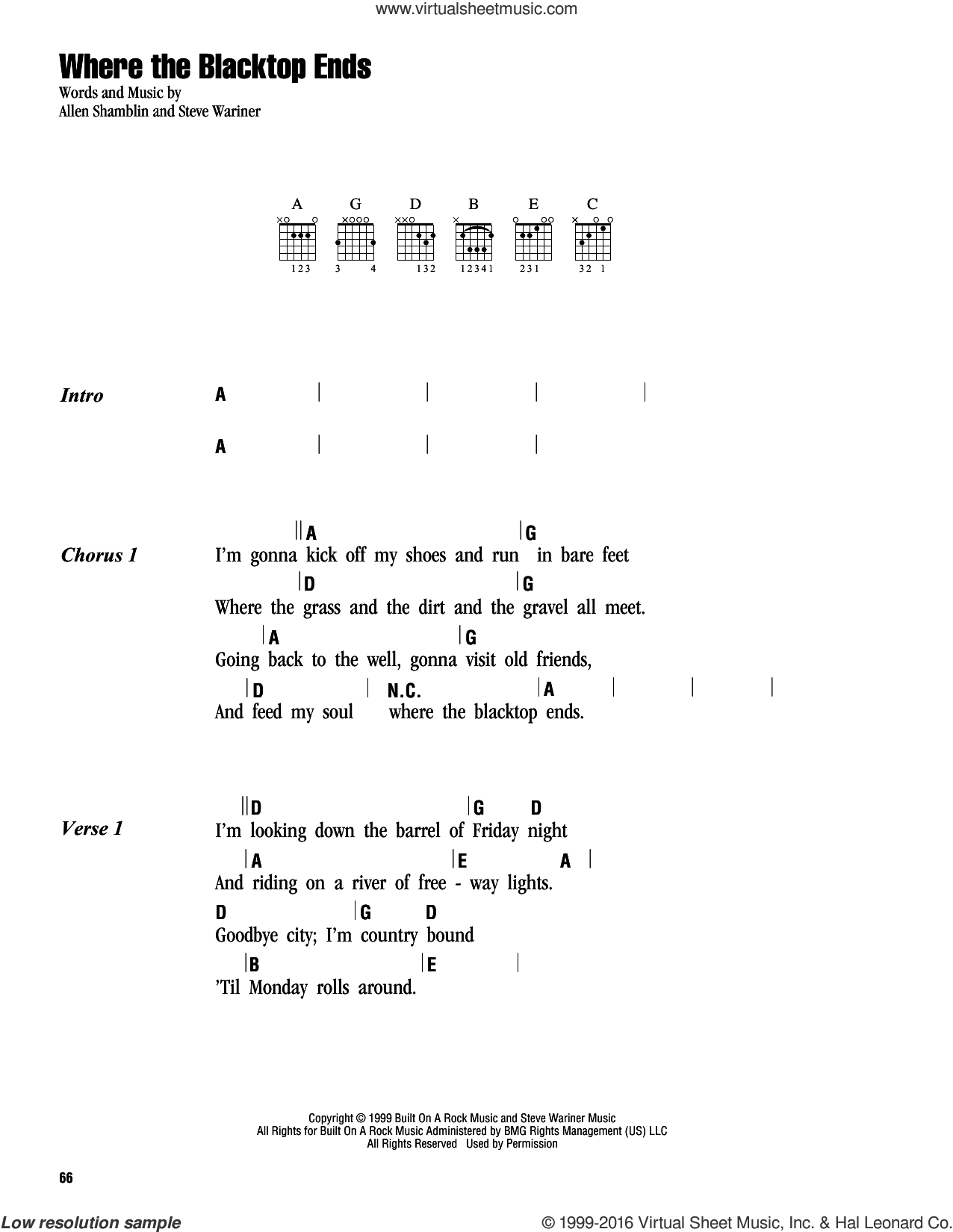 Where The Blacktop Ends sheet music for guitar (chords) by Steve Wariner, Keith Urban and Allen Shamblin. Score Image Preview.
