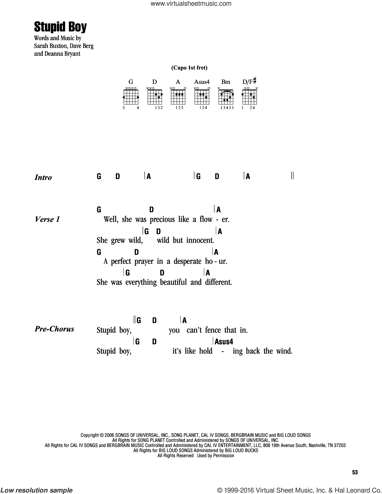 Stupid Boy sheet music for guitar (chords) by Keith Urban, Dave Berg, Deanna Bryant and Sarah Buxton, intermediate. Score Image Preview.