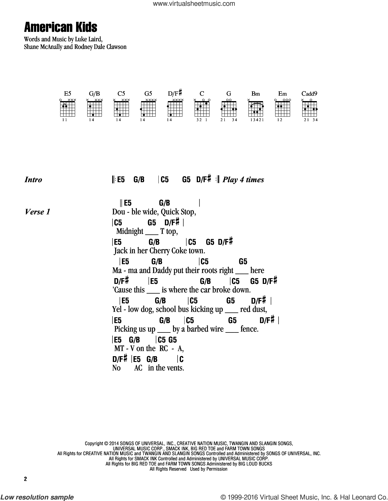American Kids sheet music for guitar (chords) by Shane McAnally, Kenny Chesney, Luke Laird and Rodney Dale Clawson. Score Image Preview.