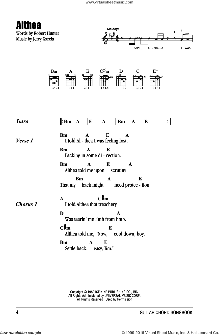 Althea sheet music for guitar (chords) by Grateful Dead, intermediate guitar (chords). Score Image Preview.