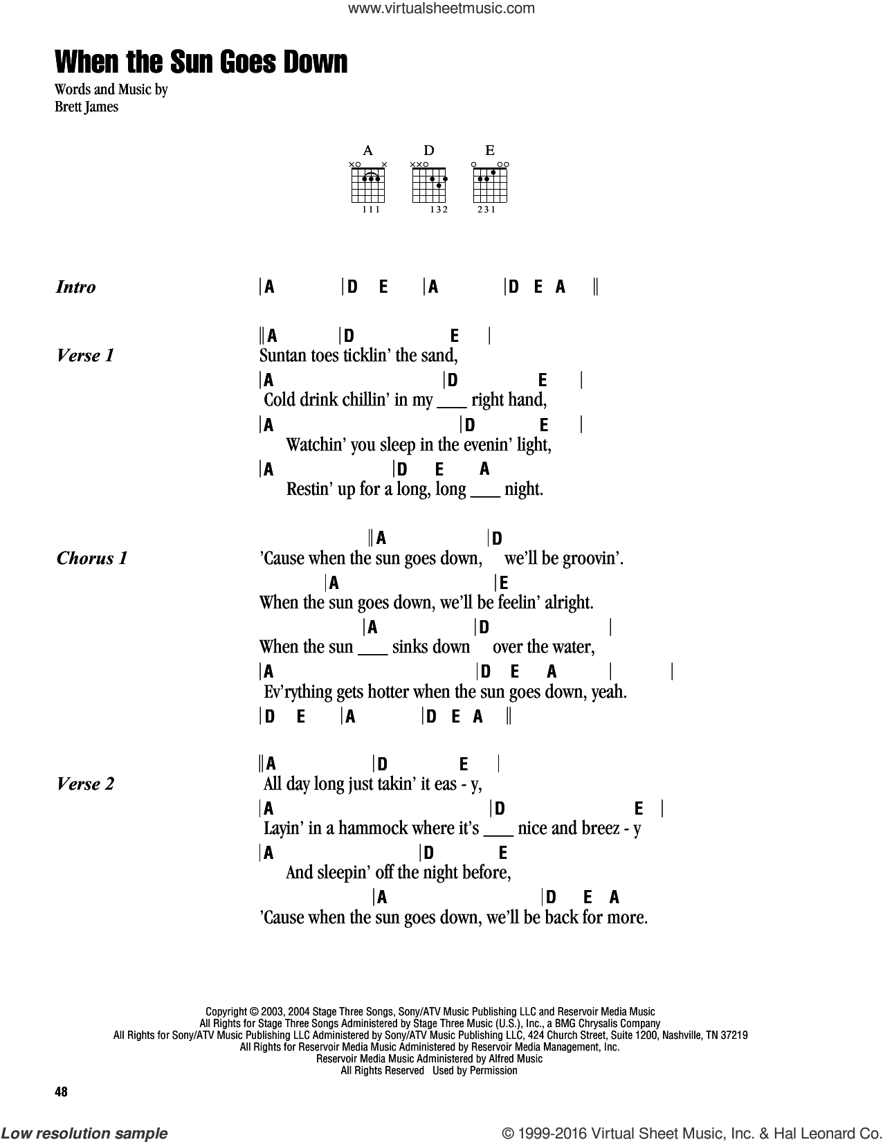 When The Sun Goes Down sheet music for guitar (chords) by Kenny Chesney & Uncle Kracker, Kenny Chesney and Brett James, intermediate guitar (chords). Score Image Preview.