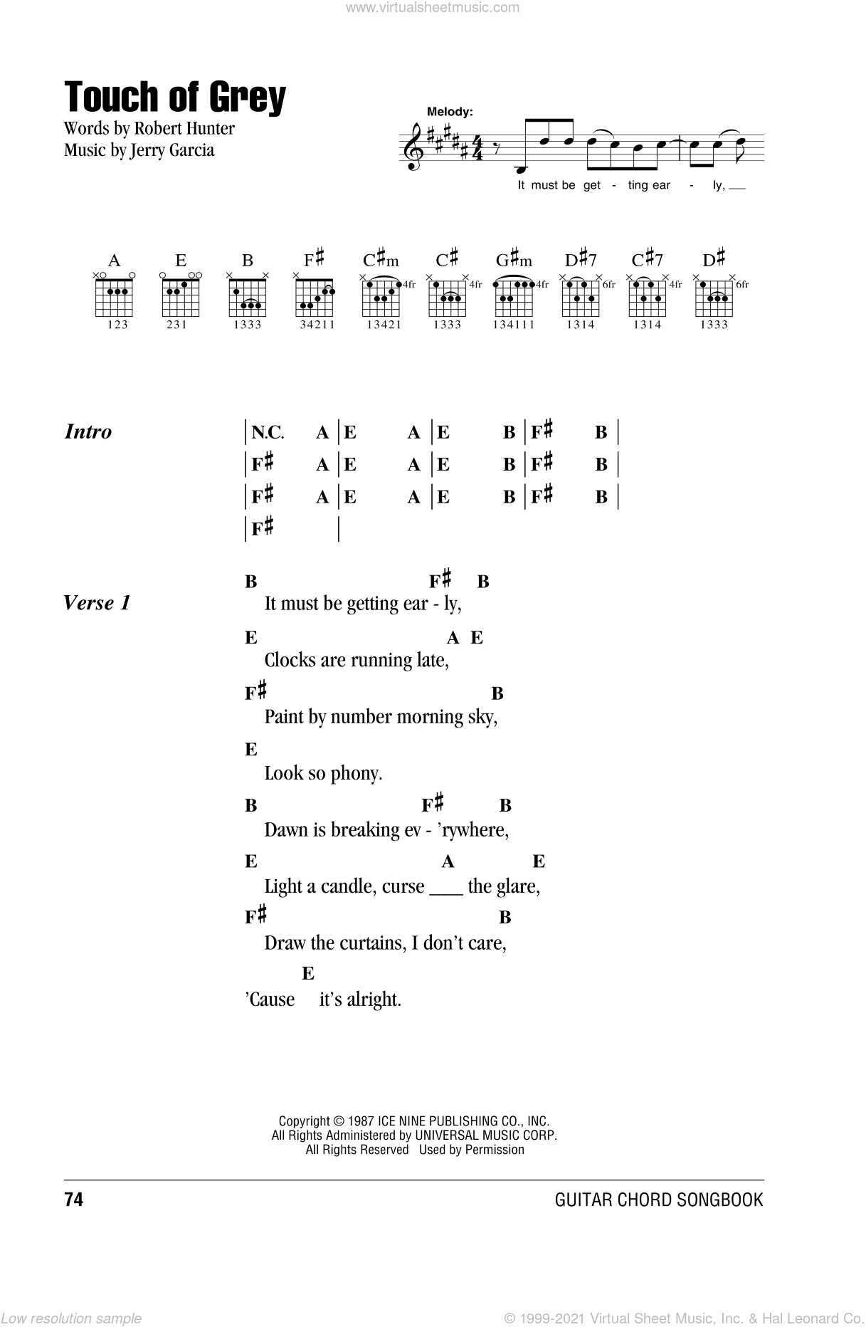 Touch Of Grey sheet music for guitar (chords) by Grateful Dead, intermediate guitar (chords). Score Image Preview.