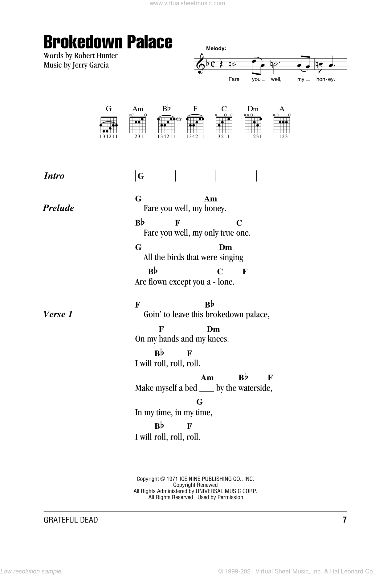 Brokedown Palace sheet music for guitar (chords) by Grateful Dead, intermediate guitar (chords). Score Image Preview.
