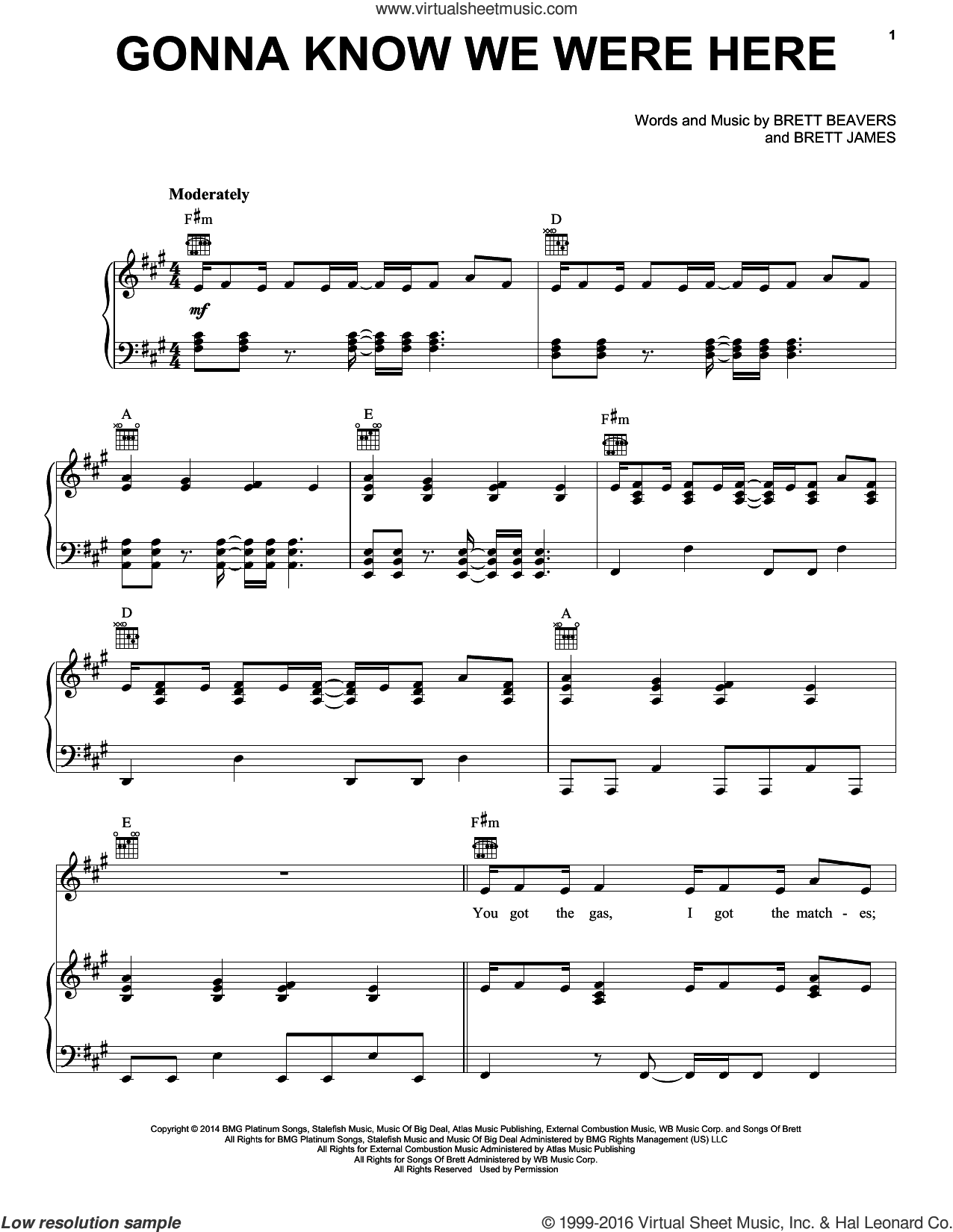 Gonna Know We Were Here sheet music for voice, piano or guitar by Brett James, Jason Aldean and Brett Beavers. Score Image Preview.