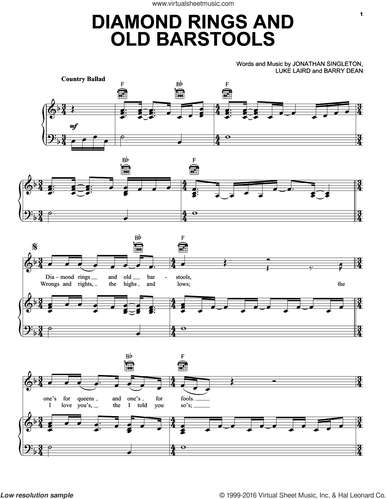 Diamond Rings And Old Barstools sheet music for voice, piano or guitar by Tim McGraw and Luke Laird, intermediate voice, piano or guitar. Score Image Preview.