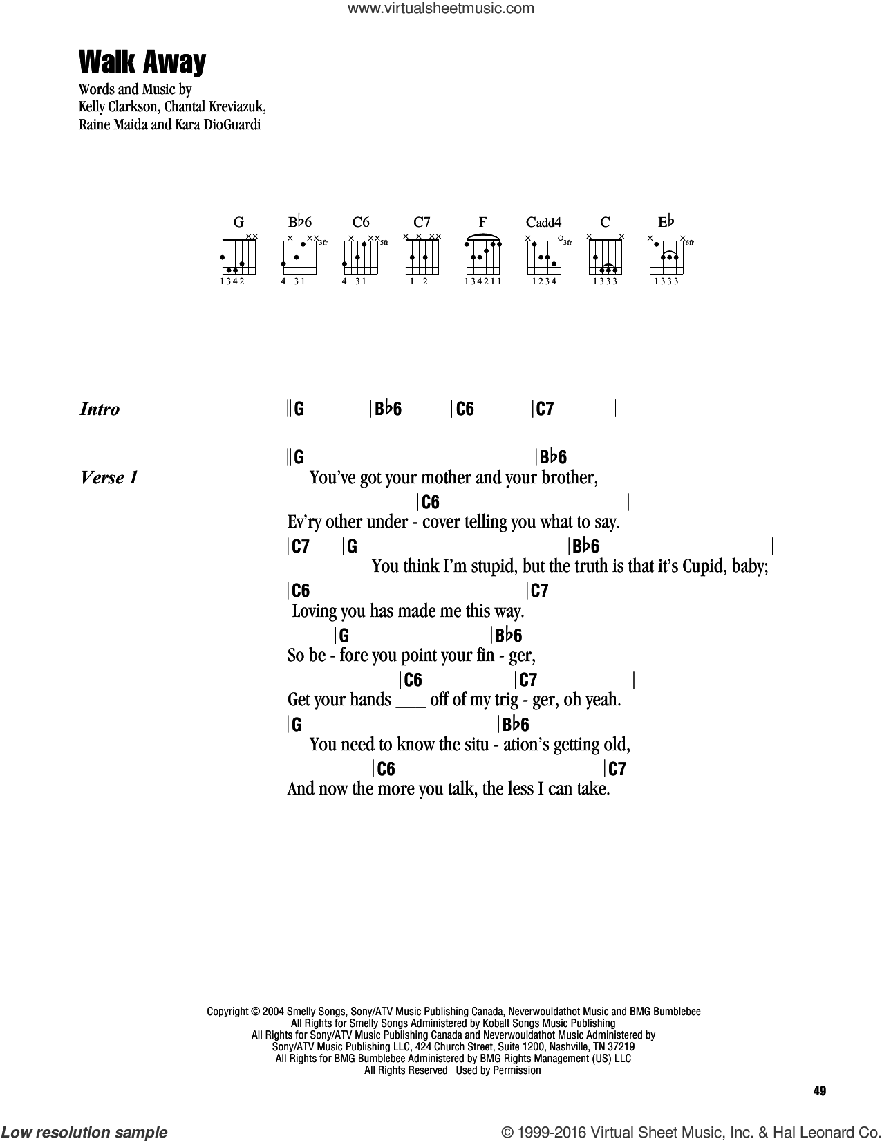 Walk Away sheet music for guitar (chords) by Kelly Clarkson, Chantal Kreviazuk, Kara DioGuardi and Raine Maida, intermediate skill level