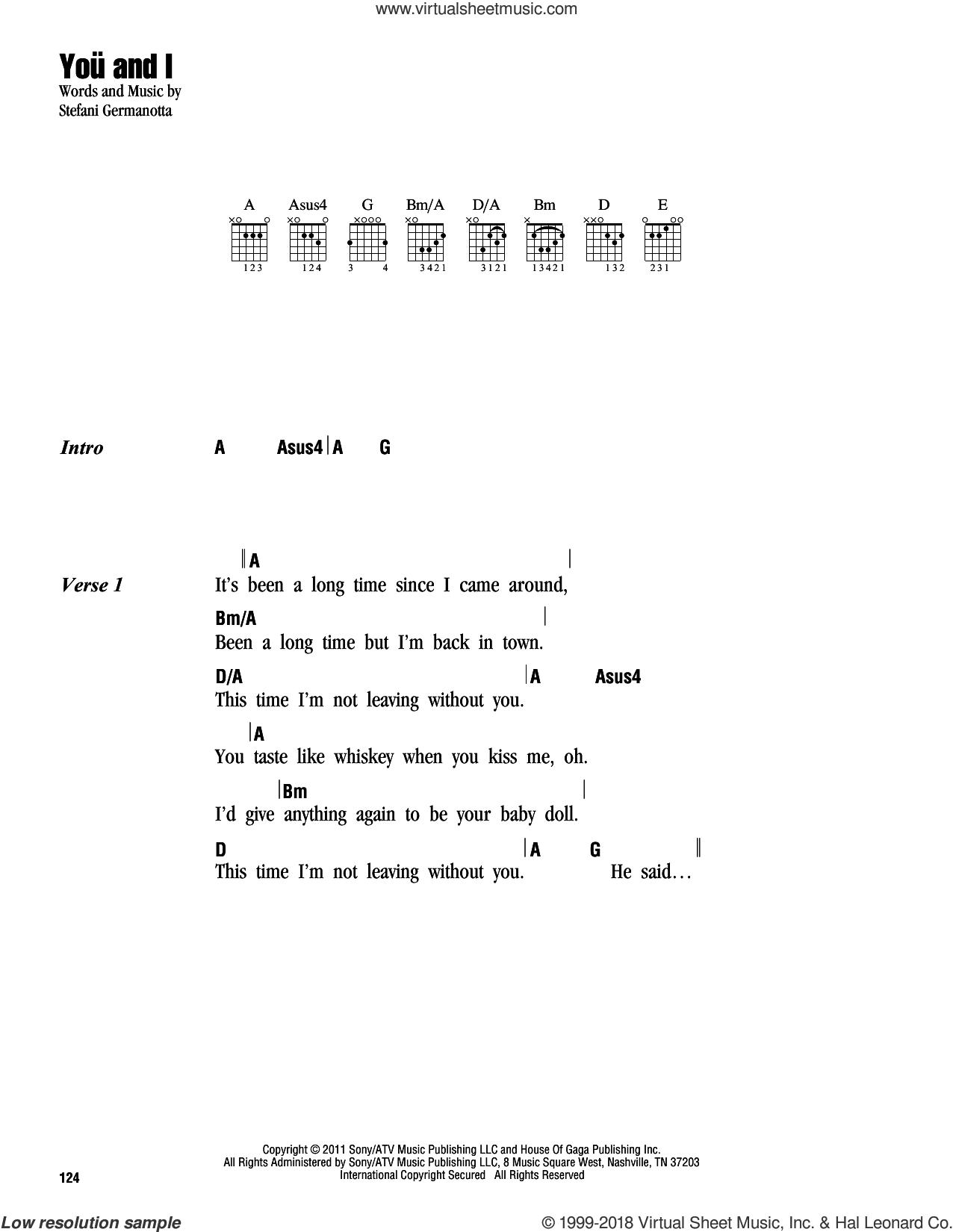 You And I sheet music for guitar (chords) by Lady Gaga, intermediate skill level