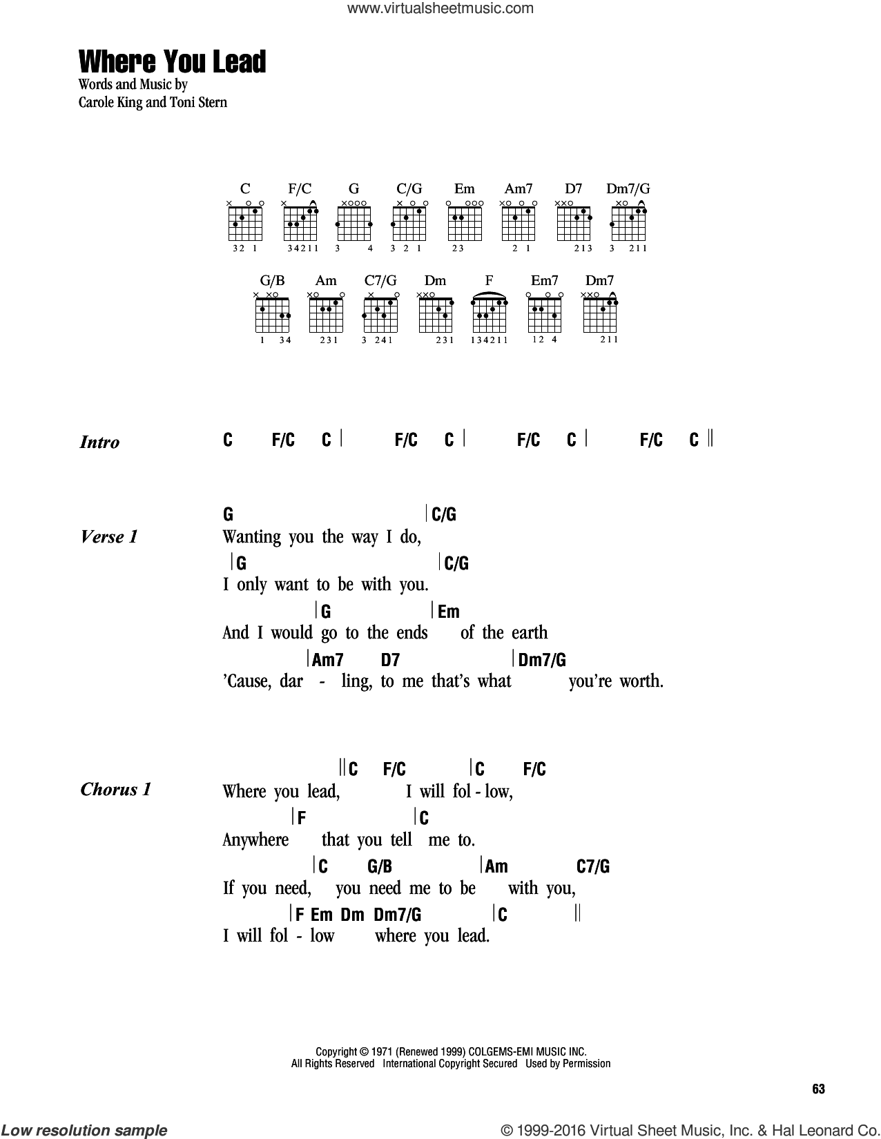 Where You Lead sheet music for guitar (chords) by Carole King, intermediate guitar (chords). Score Image Preview.