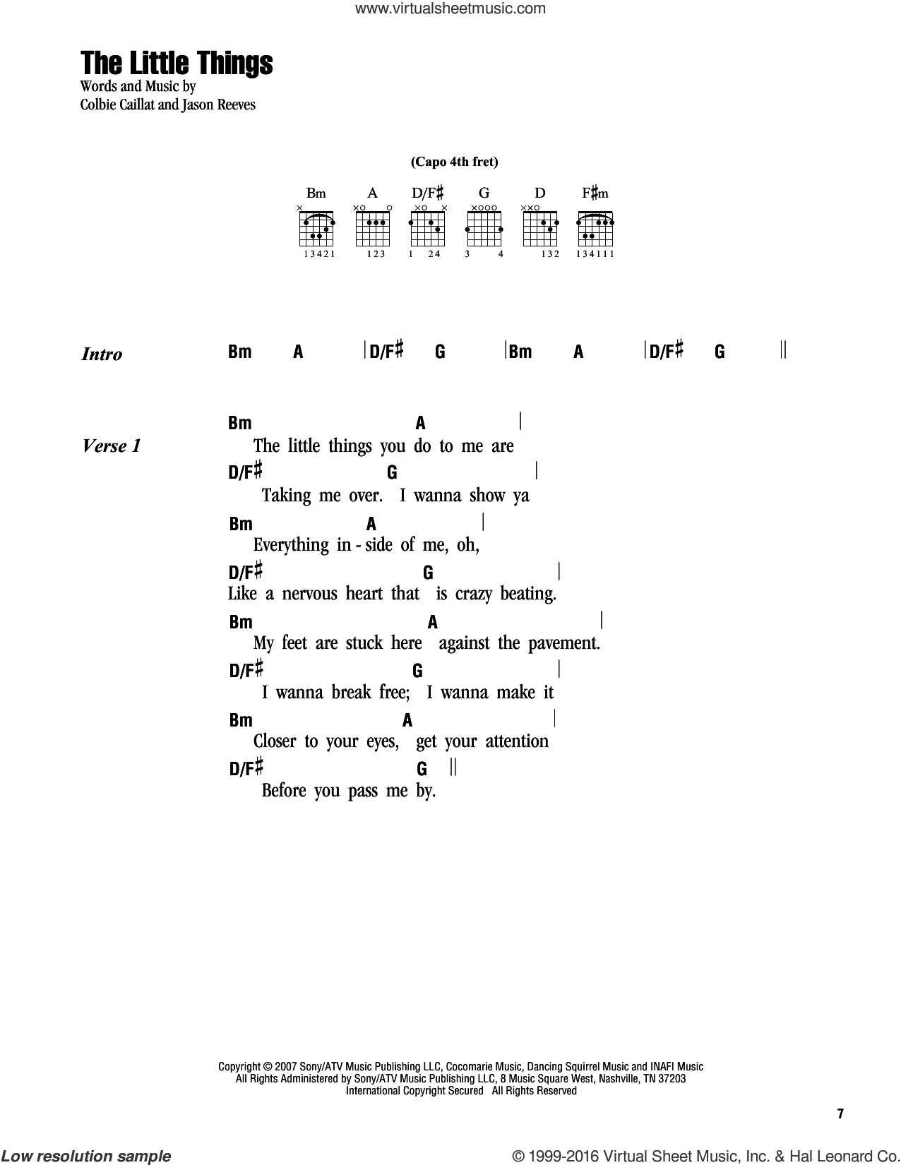 The Little Things sheet music for guitar (chords) by Jason Reeves and Colbie Caillat. Score Image Preview.