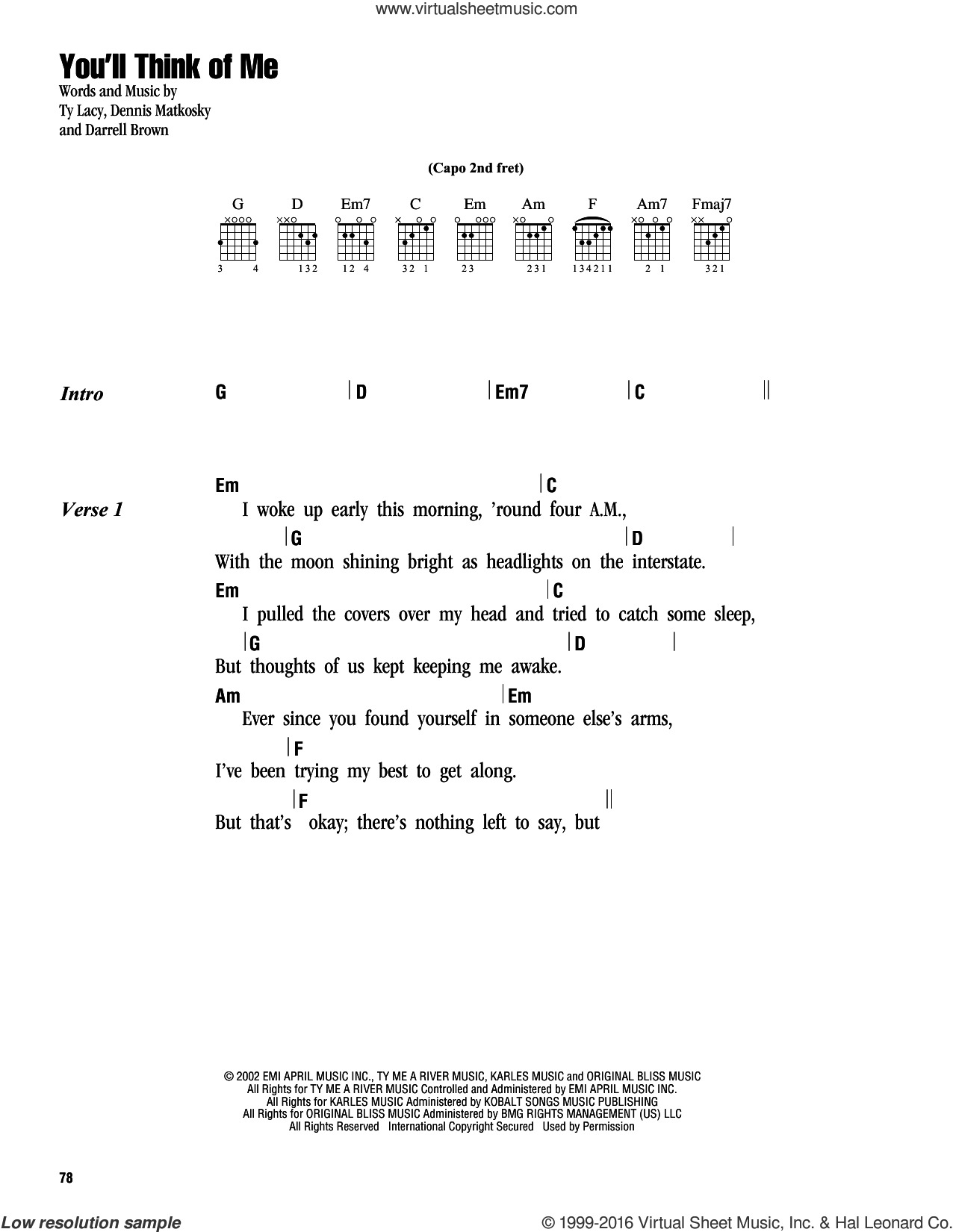 You'll Think Of Me sheet music for guitar (chords) by Ty Lacy, Keith Urban, Darrell Brown and Dennis Matkosky. Score Image Preview.