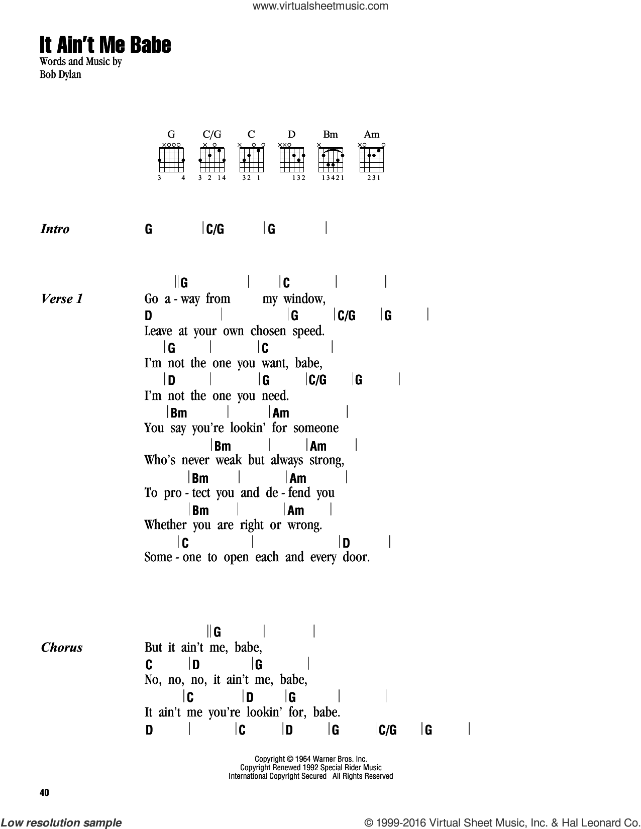 It Ain't Me Babe sheet music for guitar (chords) by Bob Dylan, Johnny Cash and Miscellaneous, intermediate