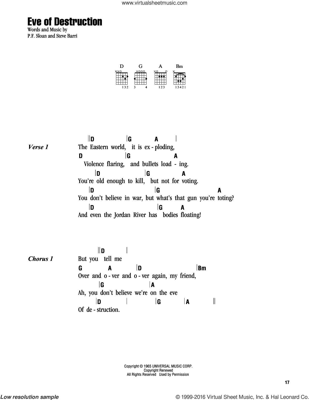 Eve Of Destruction sheet music for guitar (chords) by Barry McGuire, P.F. Sloan and Steve Barri, intermediate skill level