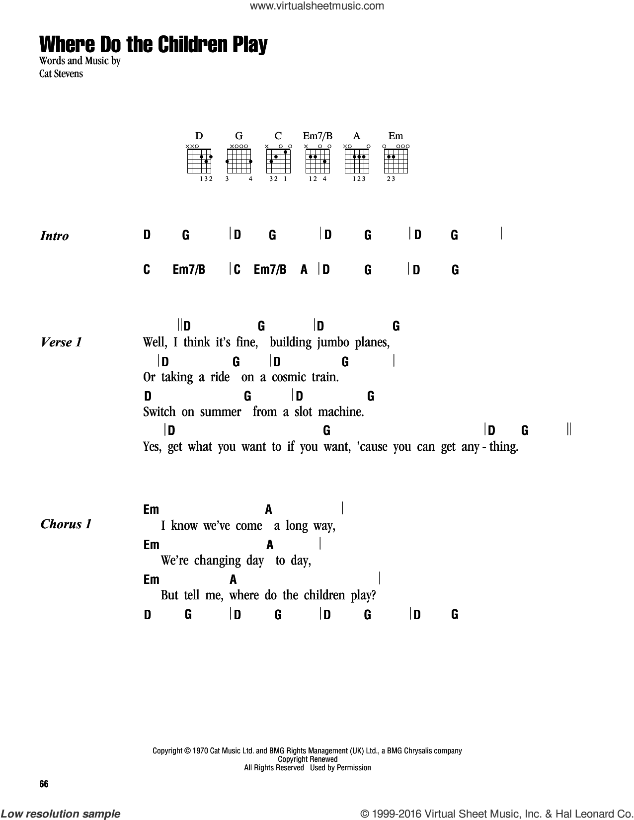 Where Do The Children Play sheet music for guitar (chords) by Cat Stevens and Yusuf Islam. Score Image Preview.