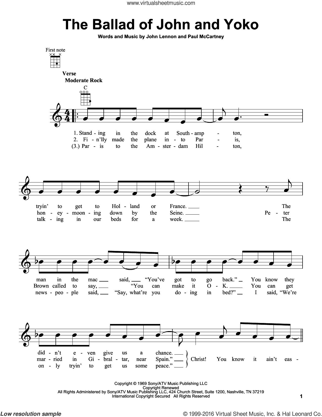 The Ballad Of John And Yoko sheet music for ukulele by The Beatles, John Lennon and Paul McCartney, intermediate skill level