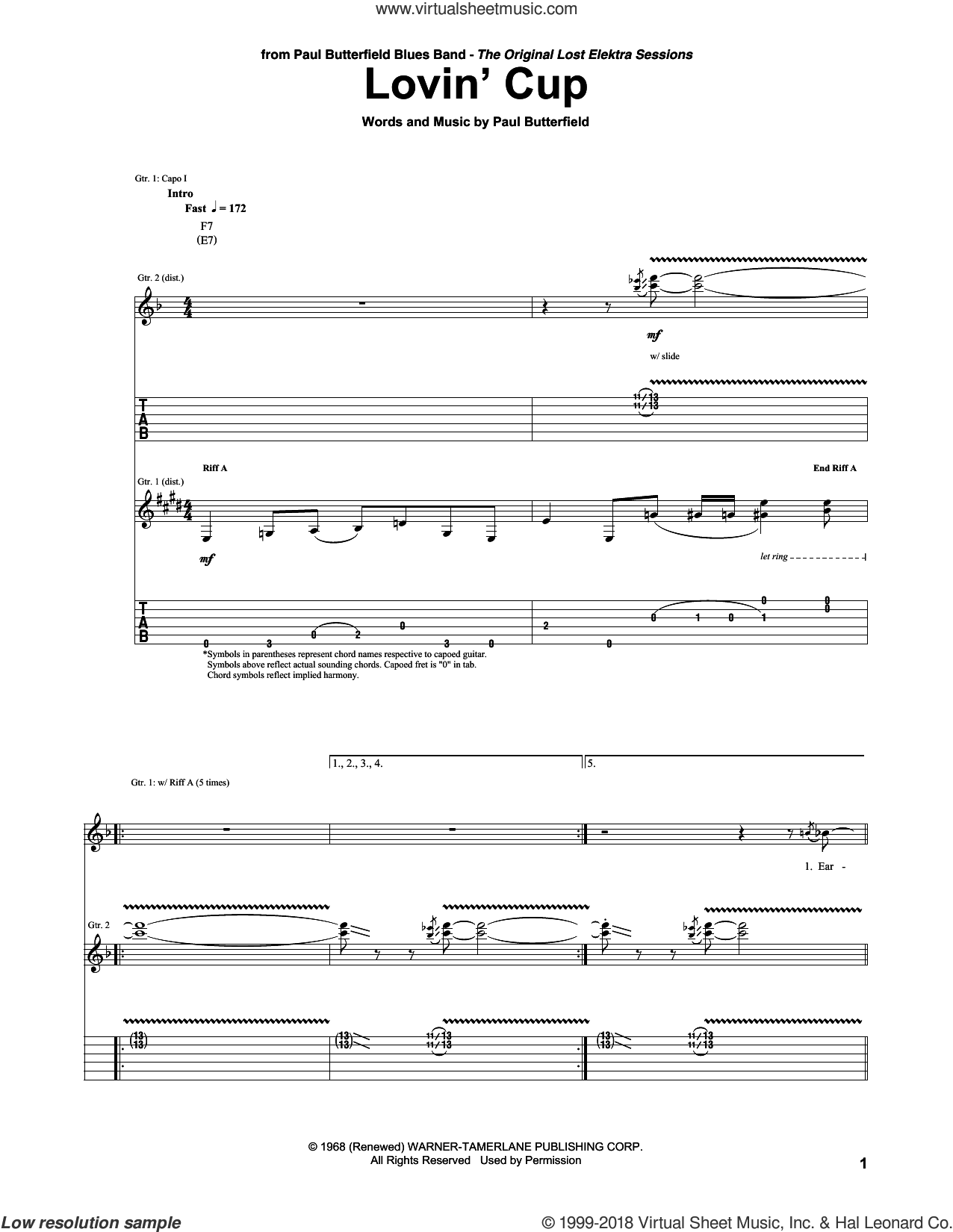 Lovin' Cup sheet music for guitar (tablature) by The Paul Butterfield Blues Band, Mike Bloomfield and Paul Butterfield, intermediate skill level