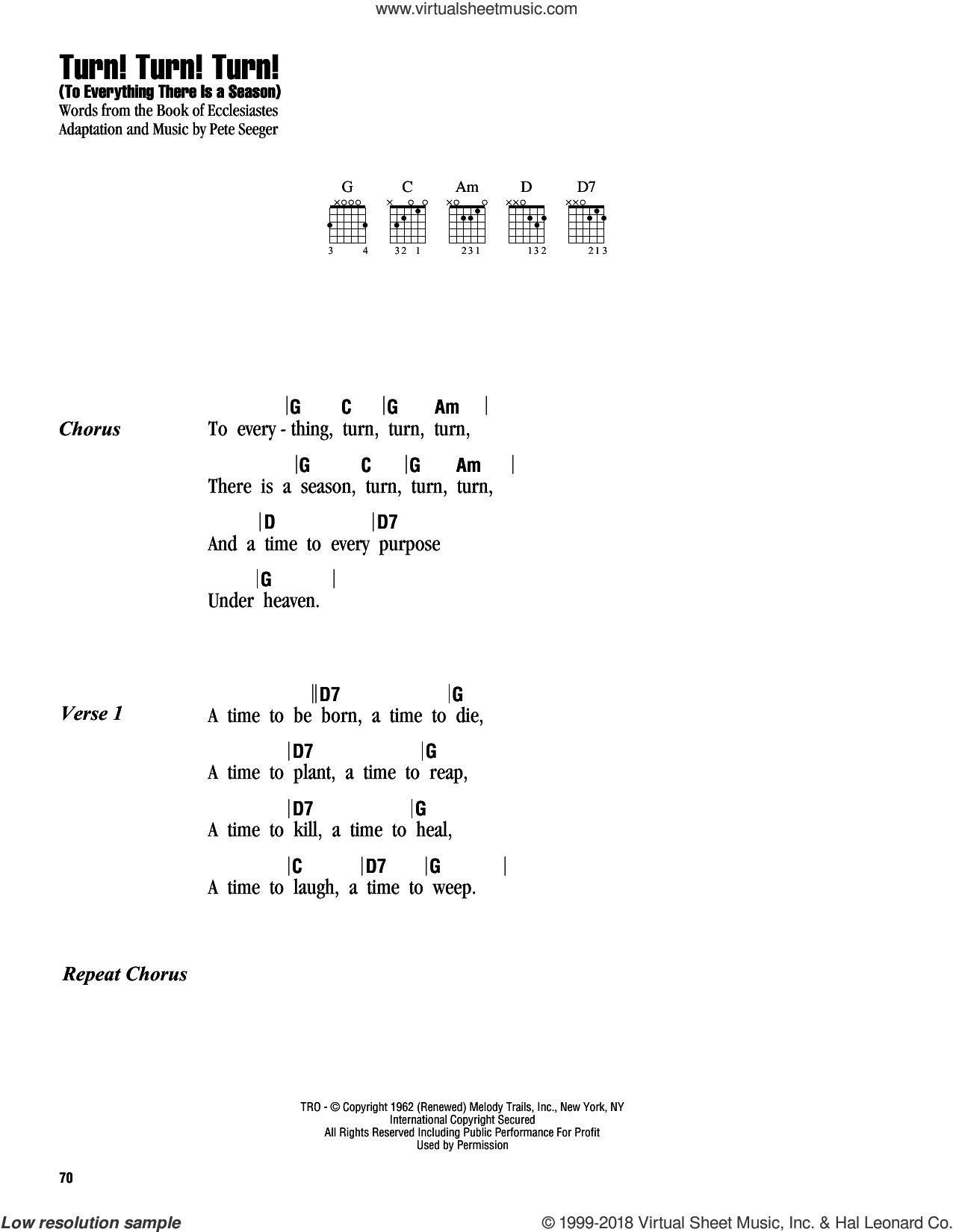 Turn! Turn! Turn! (To Everything There Is A Season) sheet music for guitar (chords) by The Byrds and Pete Seeger, intermediate guitar (chords). Score Image Preview.