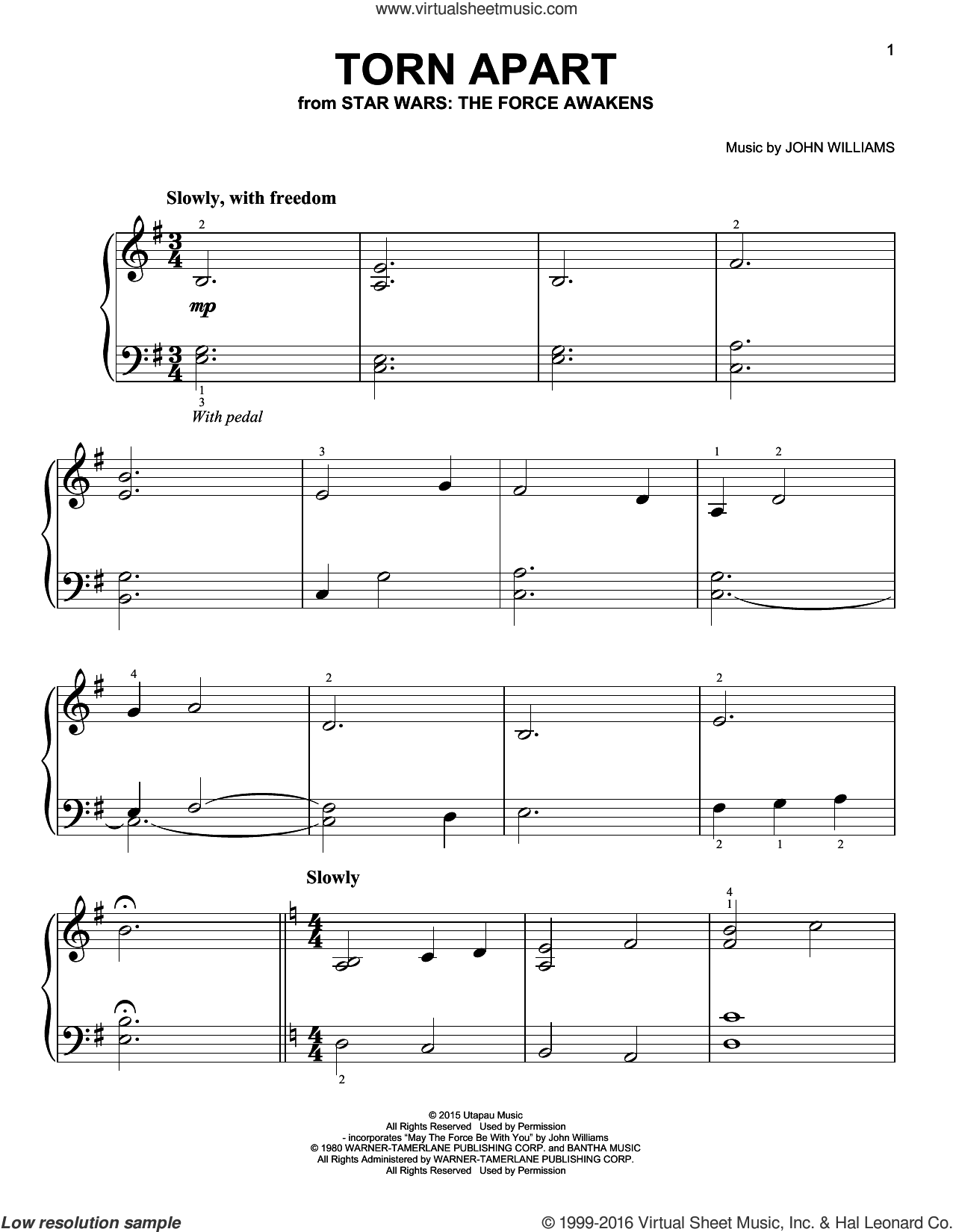 Torn Apart, (easy) sheet music for piano solo by John Williams, easy skill level