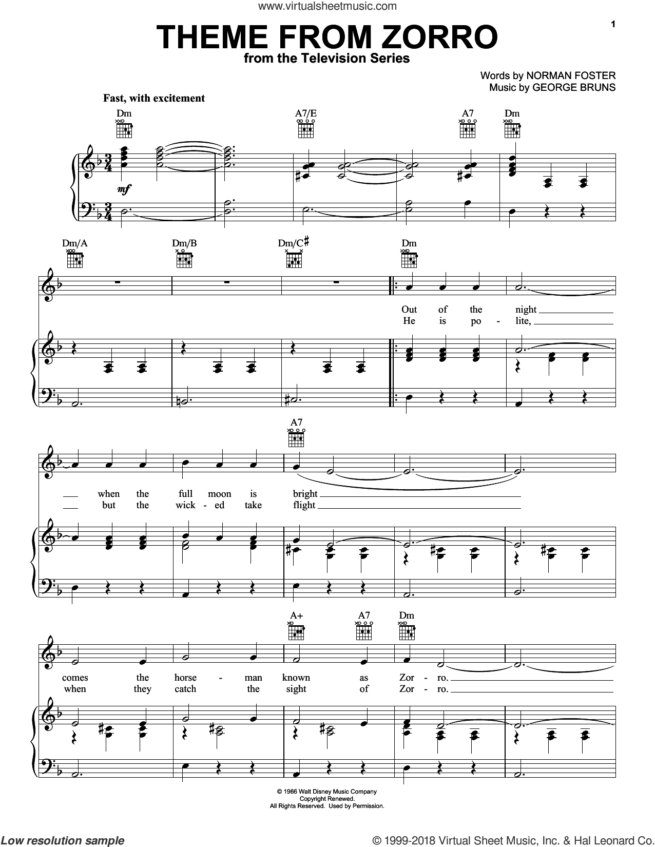 Theme From Zorro sheet music for voice, piano or guitar by Norman Foster and George Bruns, intermediate. Score Image Preview.