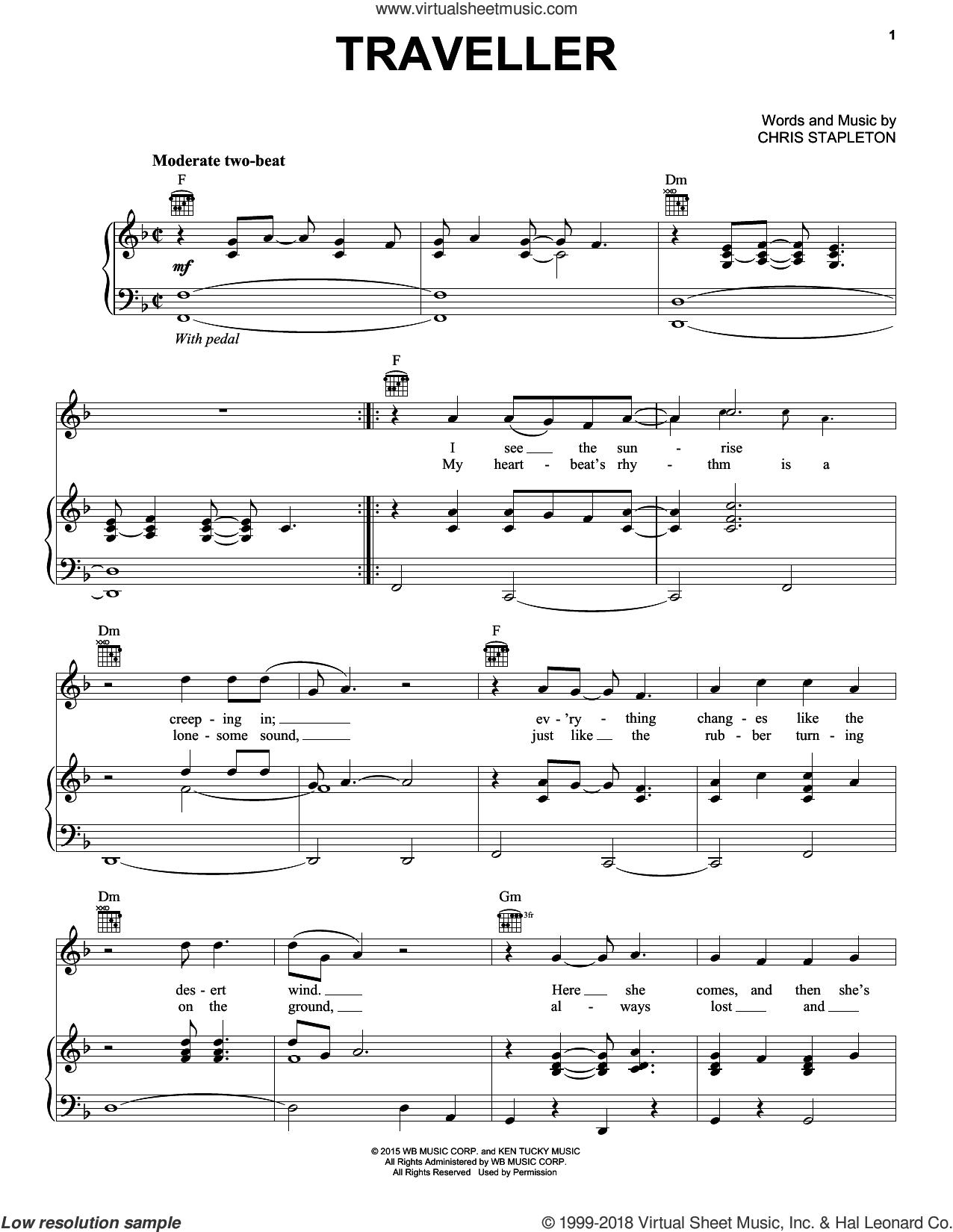 Traveller sheet music for voice, piano or guitar by Chris Stapleton, intermediate skill level
