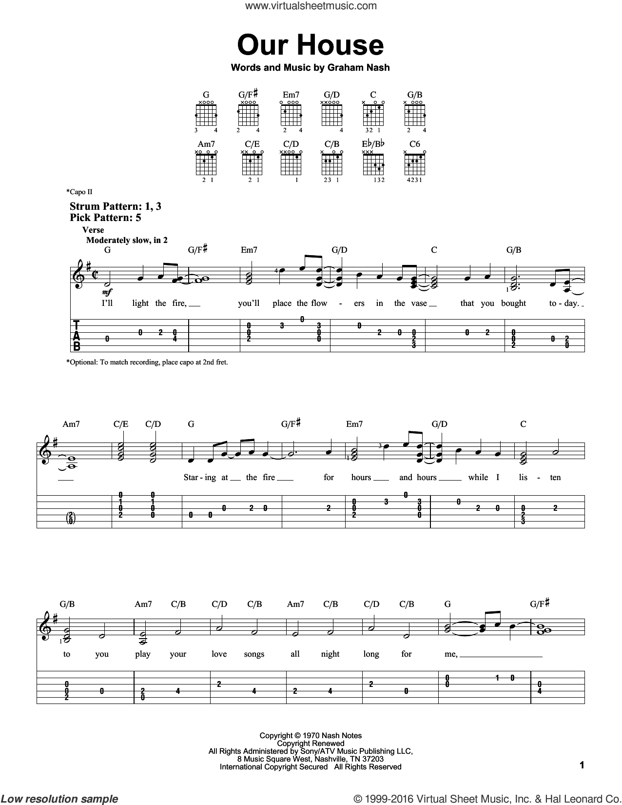 Our House sheet music for guitar solo (easy tablature) by Graham Nash. Score Image Preview.